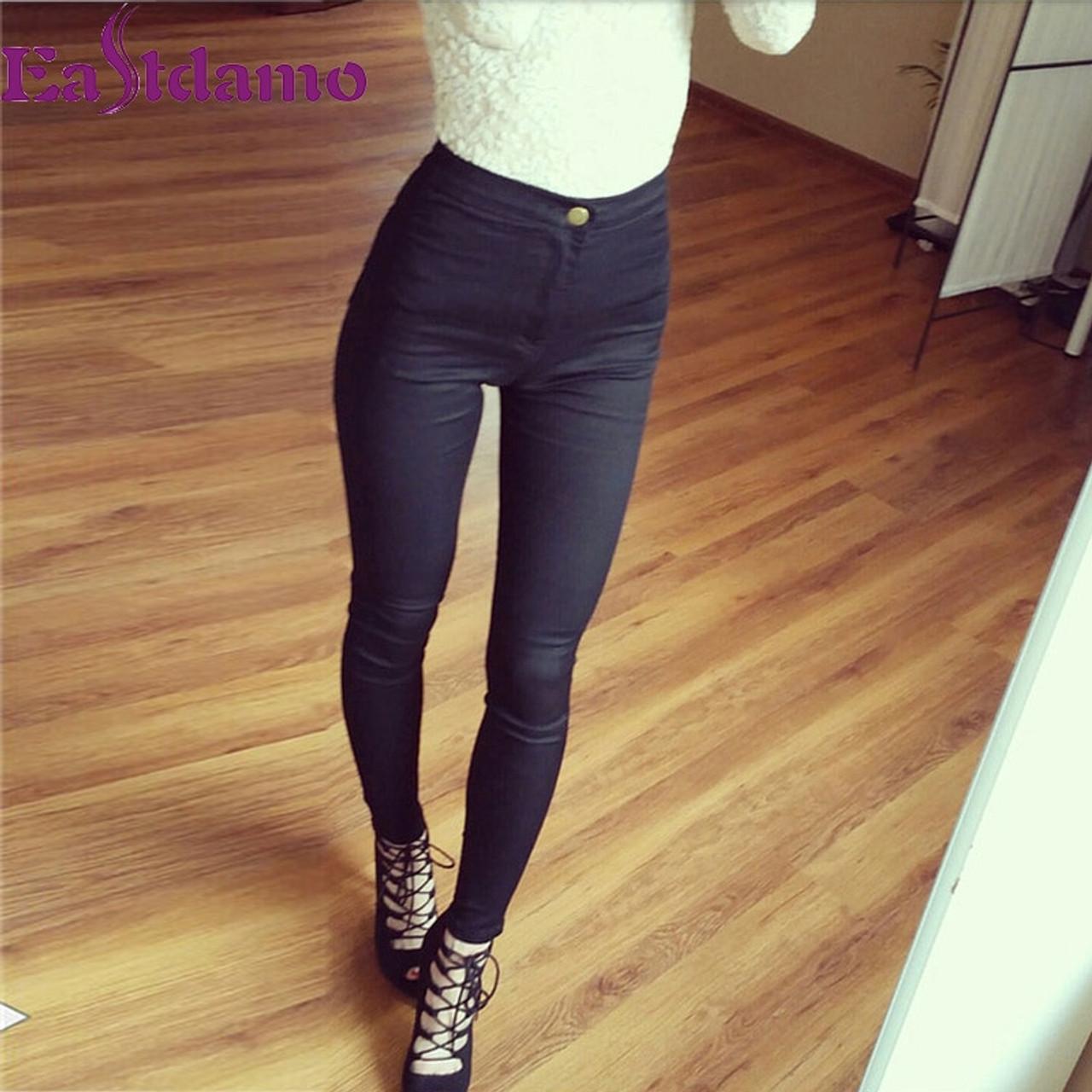 791c6326790 ... Eastdamo Slim Jeans For Women Skinny High Waist Jeans Woman Blue Denim  Pencil Pants Stretch Waist ...