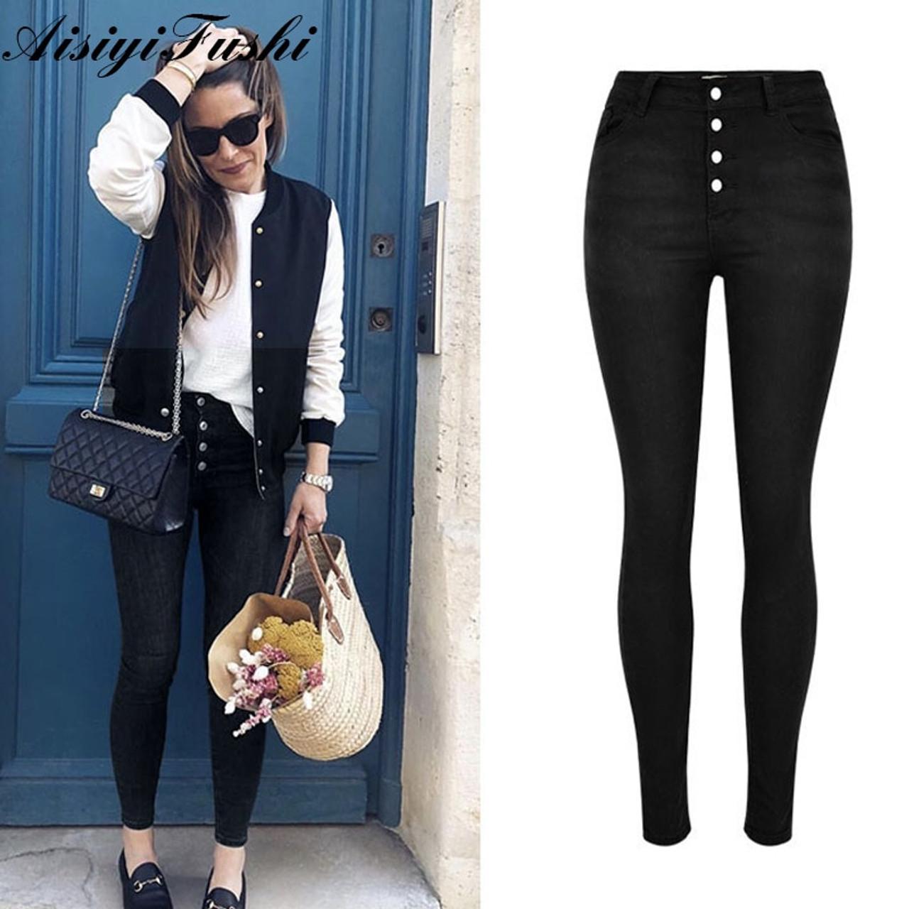 d9c67c74b077e ... Black Jeans Woman High Waist Push Up Stretch Denim Ladies Jeans Black  Women's Trousers Skinny Pants ...