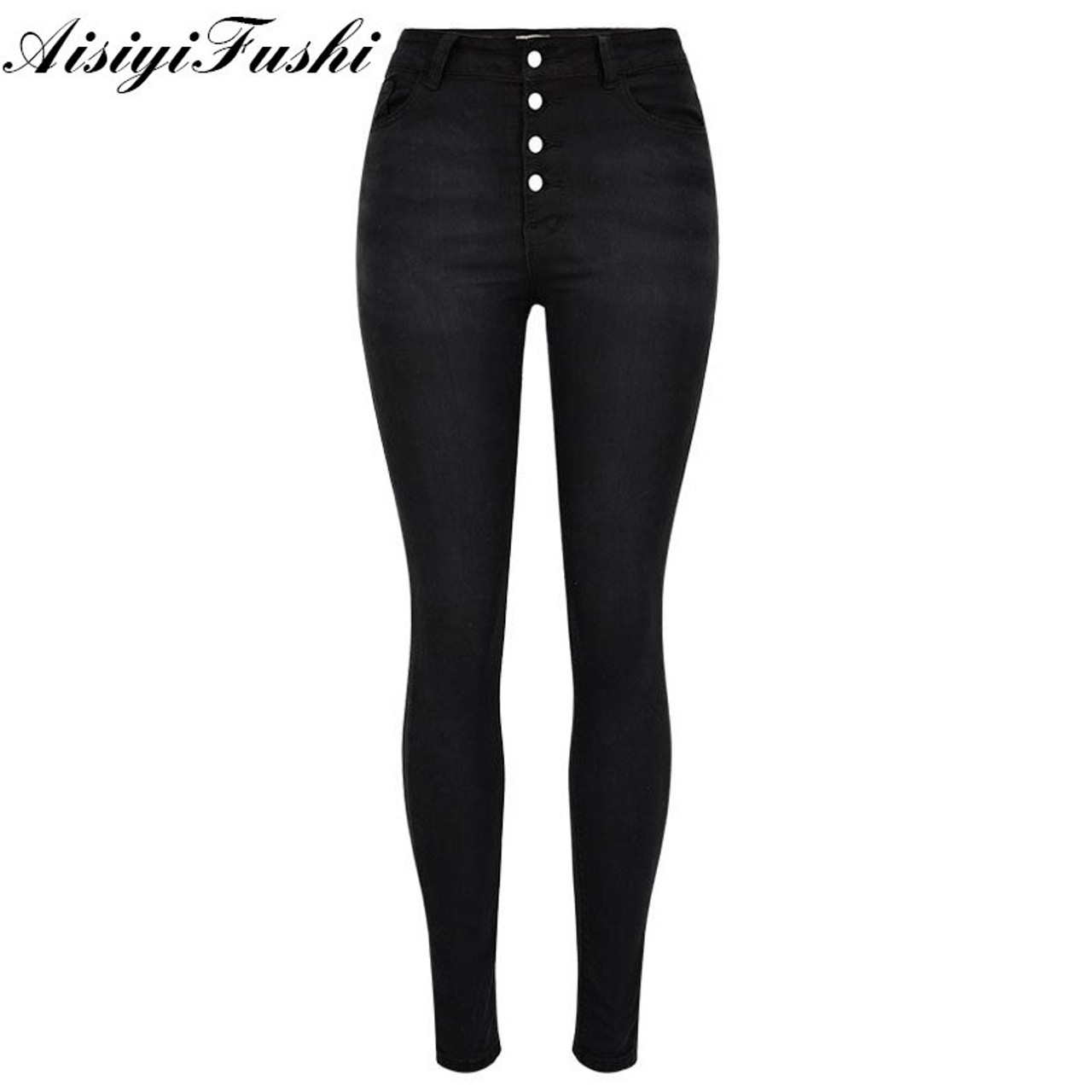 6730781054f ... Black Jeans Woman High Waist Push Up Stretch Denim Ladies Jeans Black Women s  Trousers Skinny Pants ...
