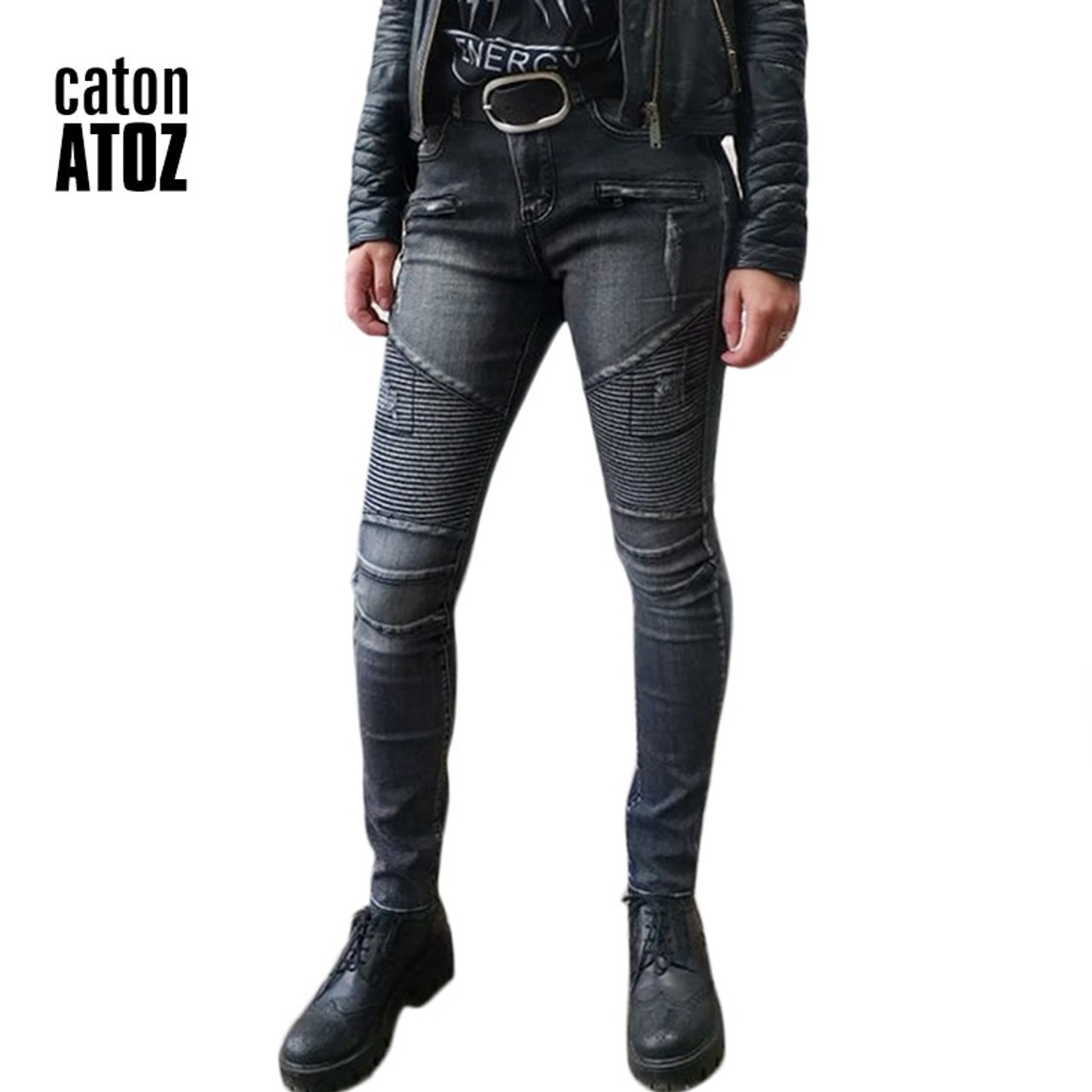 81bc3258946 catonATOZ 2168 Women Fashion Black Punk Motor Biker Jeans Women`s Stretch  Slim Fit Ripped ...