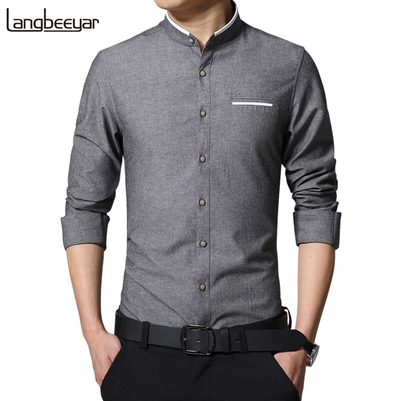71a7002f7388 New Fashion Casual Men Shirt Long Sleeve Mandarin Collar Slim Fit Shirt Men  Korean Business Mens Dress Shirts Men Clothes M-5XL - OnshopDeals.Com