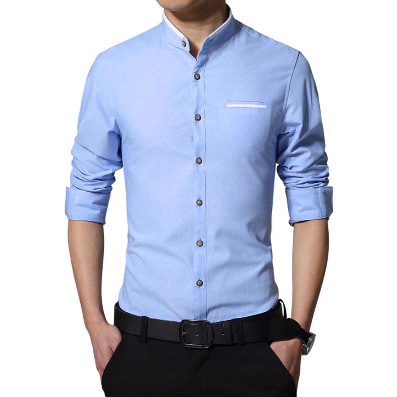 new fashion casual men shirt long sleeve mandarin collar slim fit