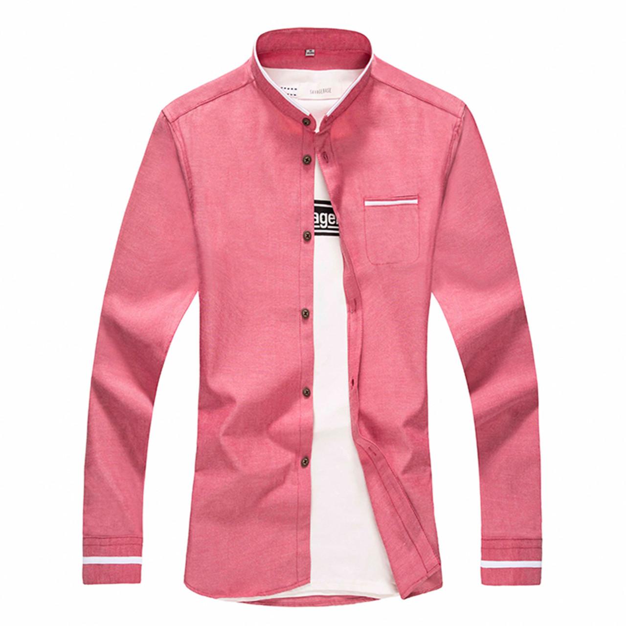 3a2cc52357c ... New Fashion Casual Men Shirt Long Sleeve Mandarin Collar Slim Fit Shirt  Men Korean Business Mens