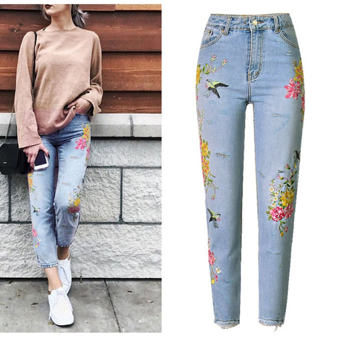 New Fashion Jeans Women's Clothing 3D Floral Embroidery Denim ...