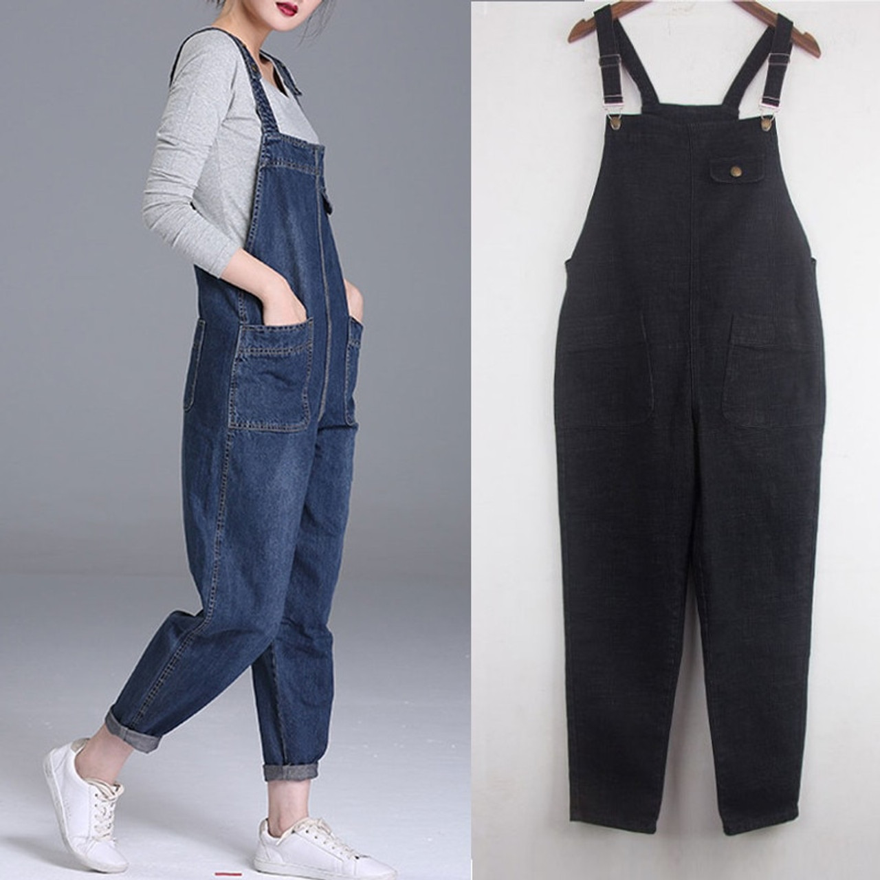 94c8cdbd5e2 Plus Size 4XL 5XL Boyfriend Jeans For Women Pockets Denim Jumpsuits Long Pants  Women Harem Jeans ...