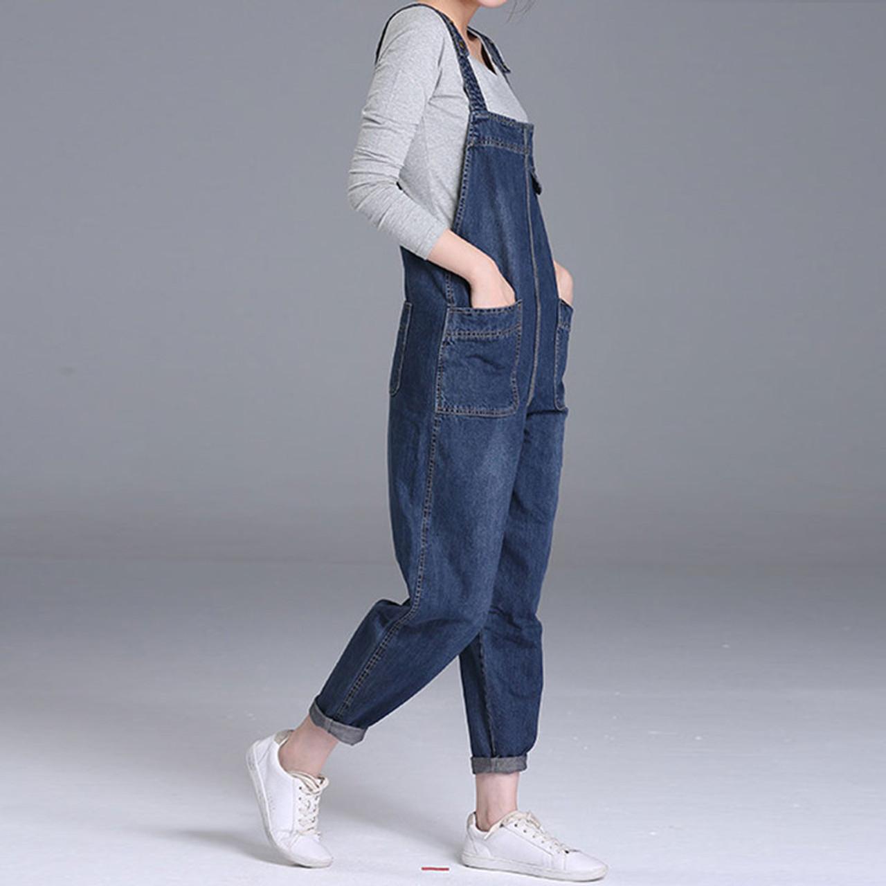b53af998821 ... Plus Size 4XL 5XL Boyfriend Jeans For Women Pockets Denim Jumpsuits  Long Pants Women Harem Jeans ...