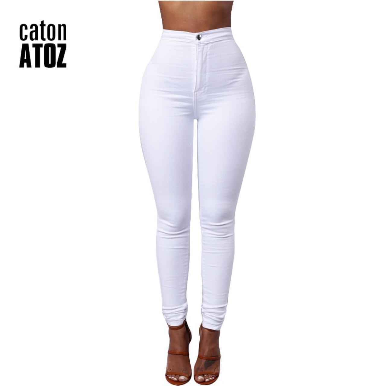 62ca3086f54108 catonATOZ 1888 New Women's High Waist Jeans Pencil Stretch Denim Pants  Female Slim Skinny Trousers Calca ...