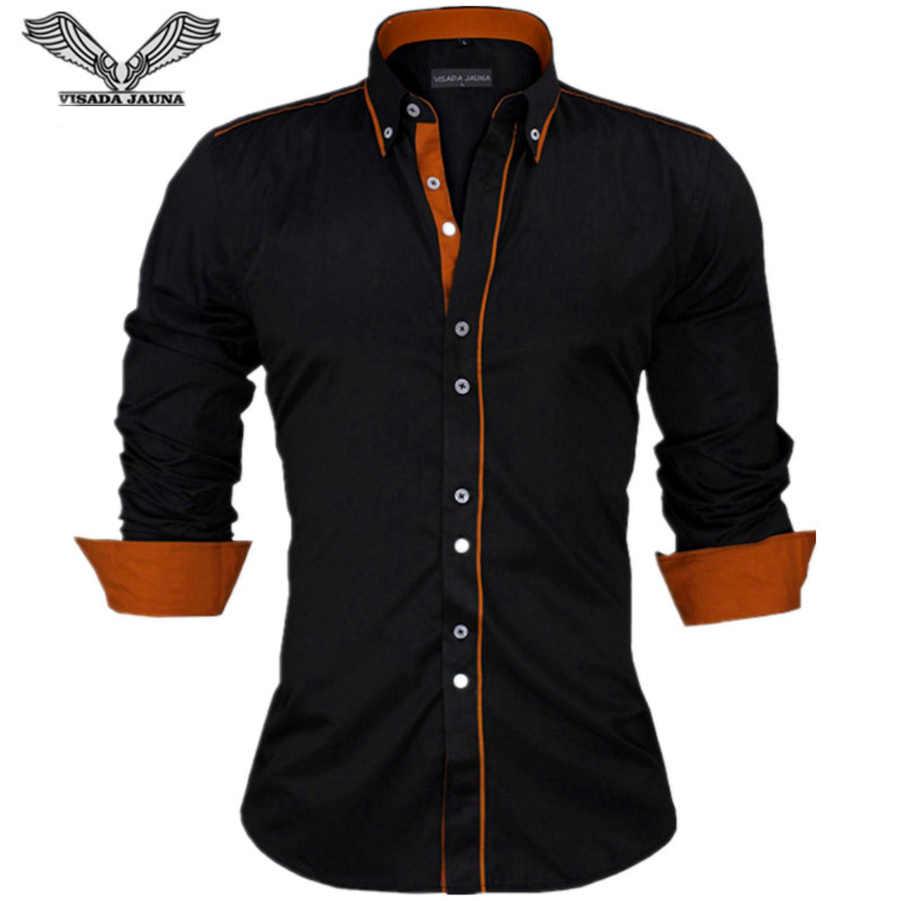 33b4371710c VISADA JAUNA Men Shirts Europe Size New Arrivals Slim Fit Male Shirt Solid Long  Sleeve British ...