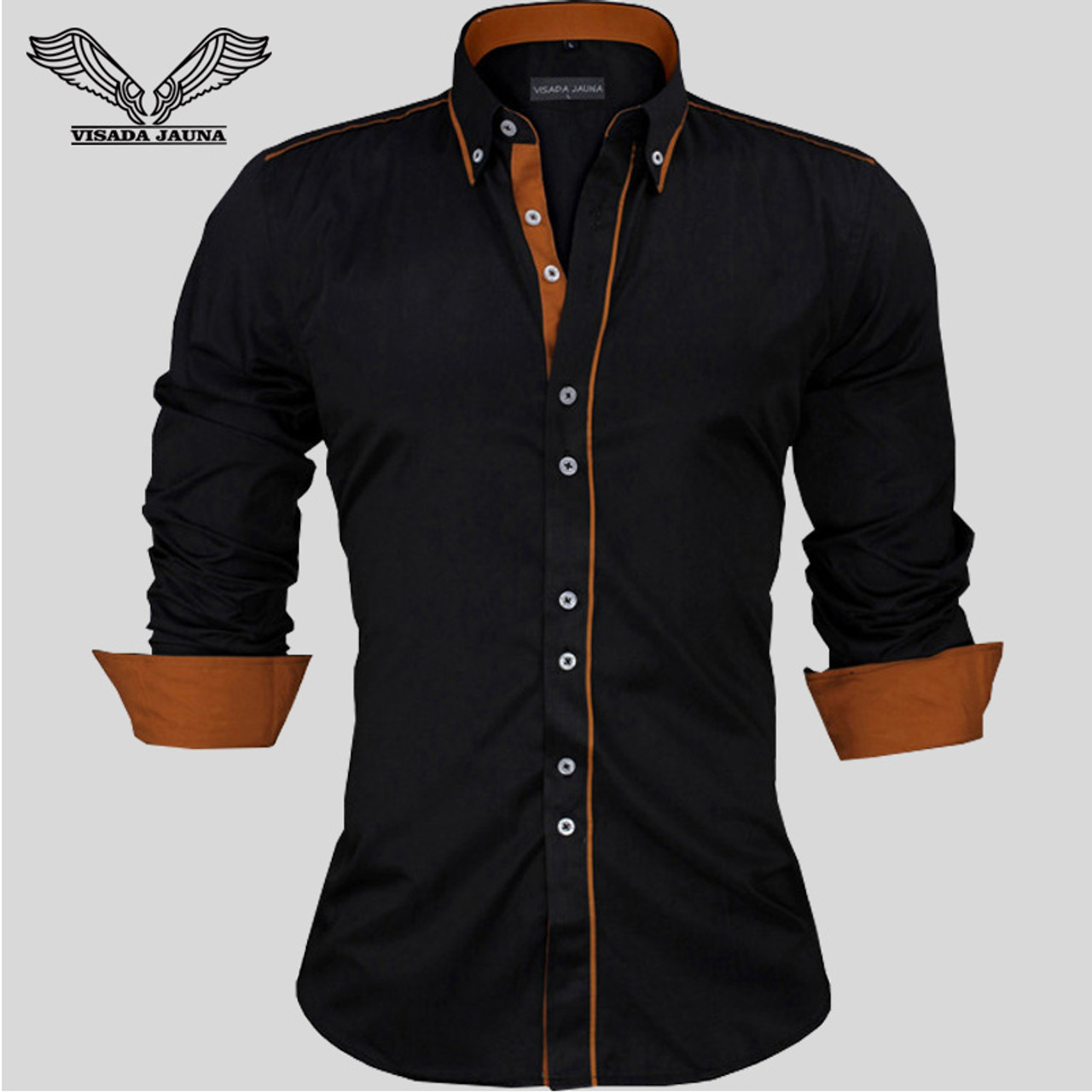 bb49c8302dbe ... VISADA JAUNA Men Shirts Europe Size New Arrivals Slim Fit Male Shirt  Solid Long Sleeve British ...