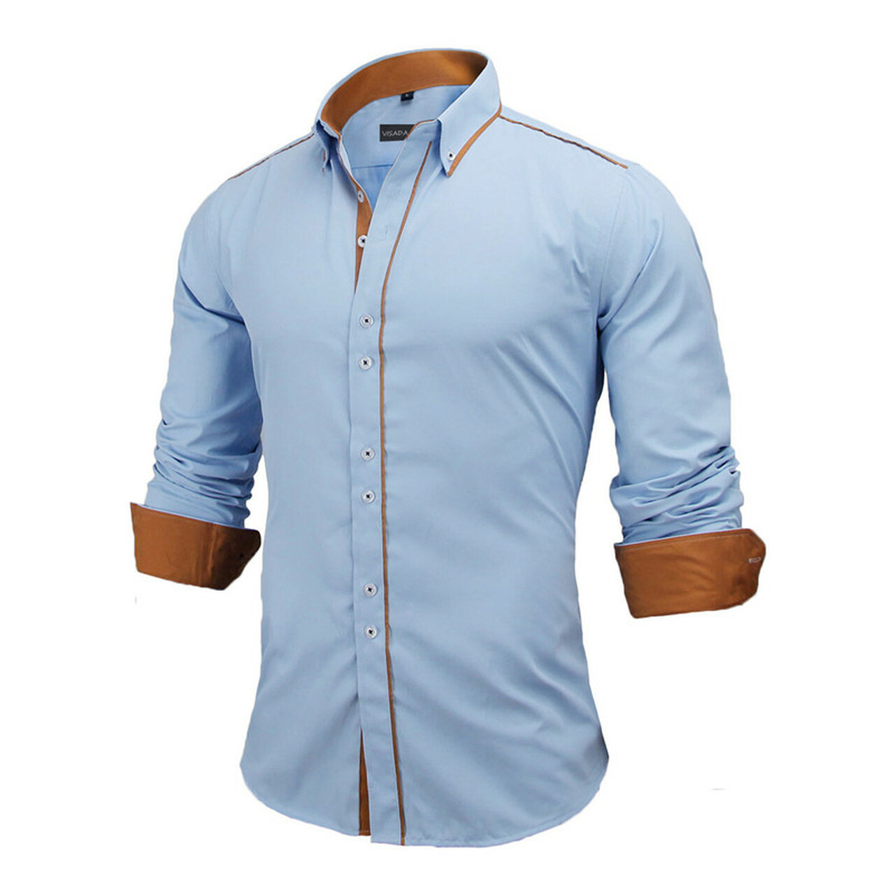 f0b53d1e42bc ... VISADA JAUNA Men Shirts Europe Size New Arrivals Slim Fit Male Shirt  Solid Long Sleeve British ...
