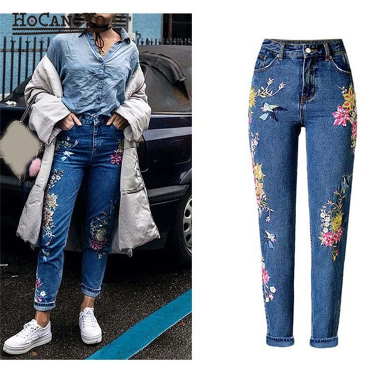 36c755f5dbfdd HCYO Women Embroidery Jeans High Waist Slim Straight Jeans Trousers Plus  Size Womens Casual Inelastic Cotton ...