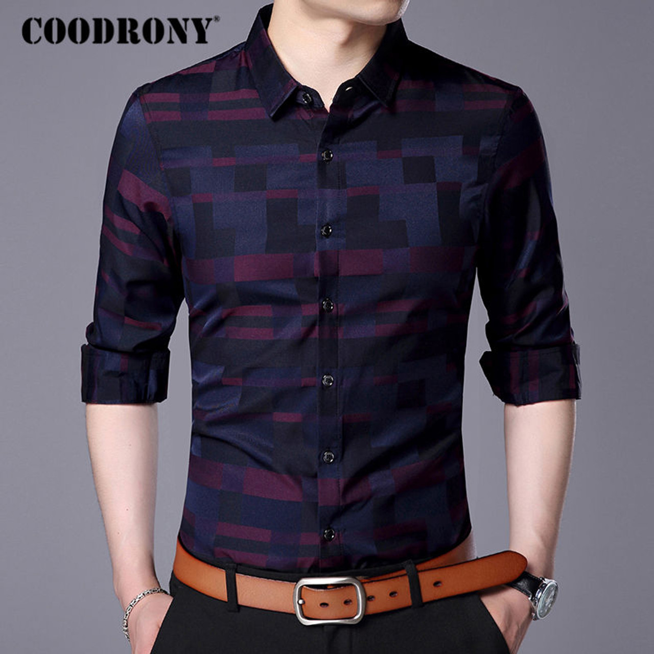 596f421698dc ... COODRONY Men Shirt Mens Business Casual Shirts 2017 New Arrival Men  Famous Brand Clothing Plaid Long ...