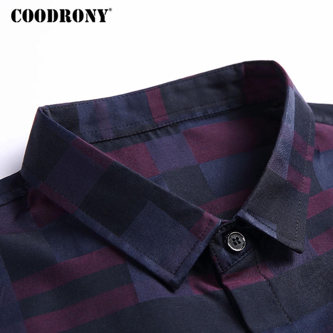 978b1dbf9 ... COODRONY Men Shirt Mens Business Casual Shirts 2017 New Arrival Men  Famous Brand Clothing Plaid Long ...