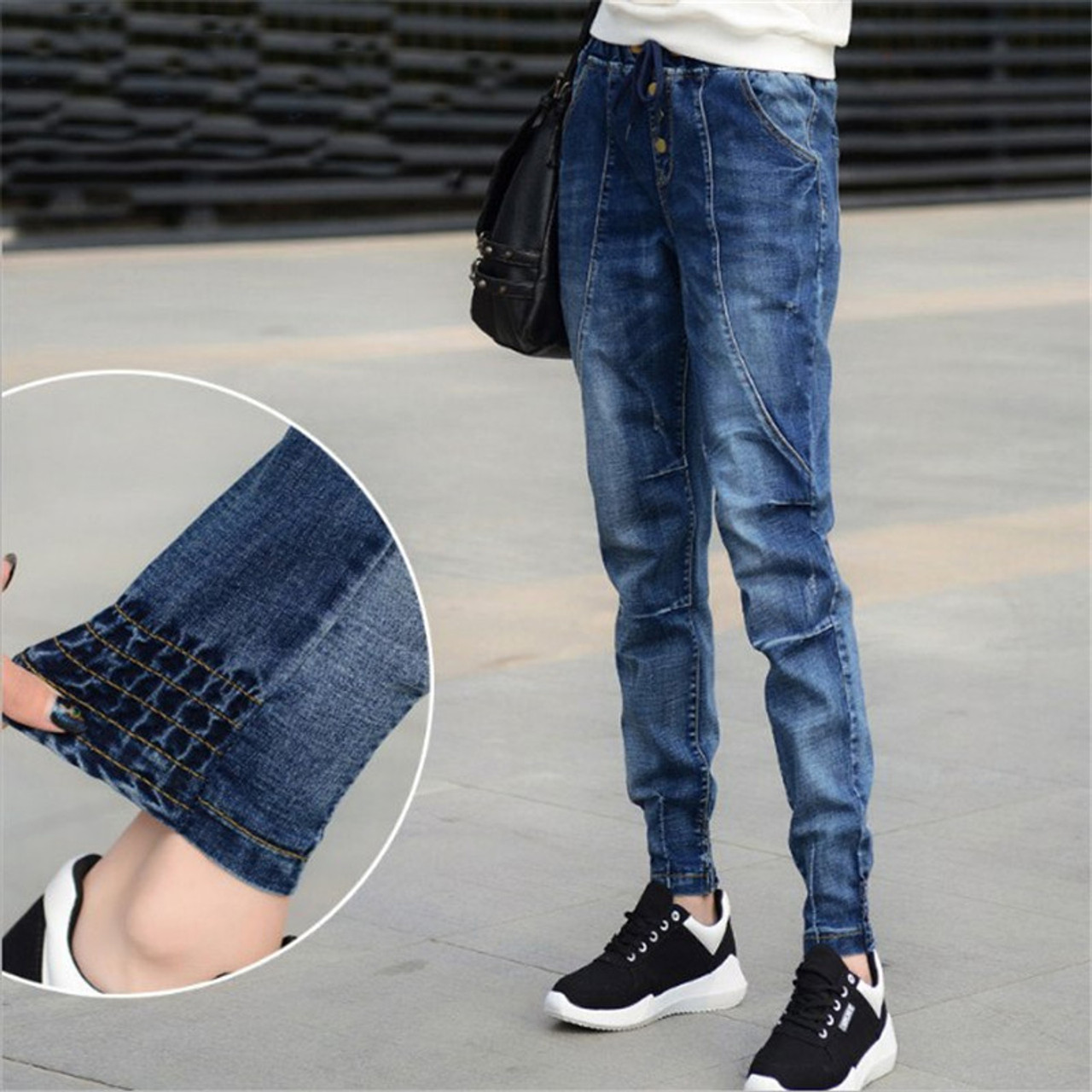 New Fashion Womens Washed Denim Harem Pants Loose Casual Trousers Jeans Oversize