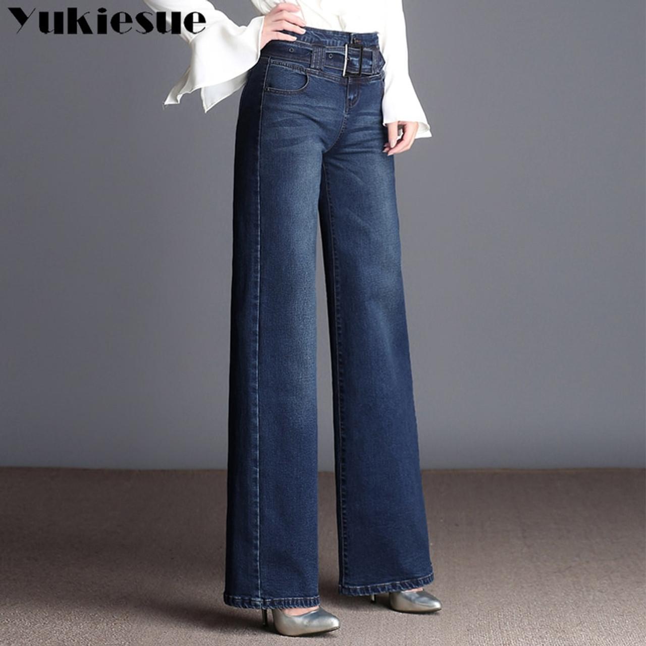 9cde8561d8be8 ... High waist jeans woman 2018 spring Vintage loose casual denim wide leg pants  jeans women Plus ...