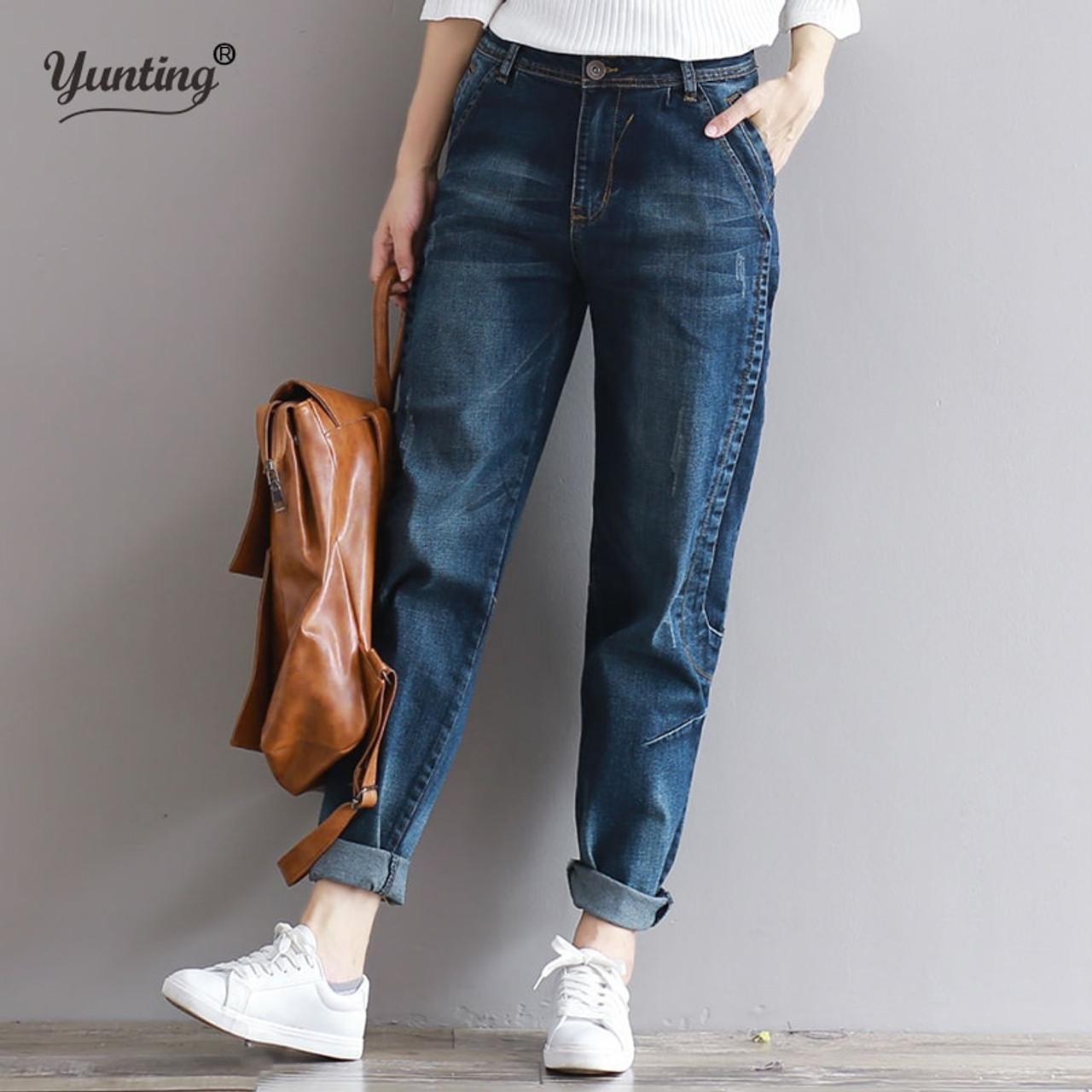 df6a1271619 2019 Boyfriend Jeans Harem Pants Women Trousers Casual Plus Size Loose Fit  Vintage Denim Pants High ...