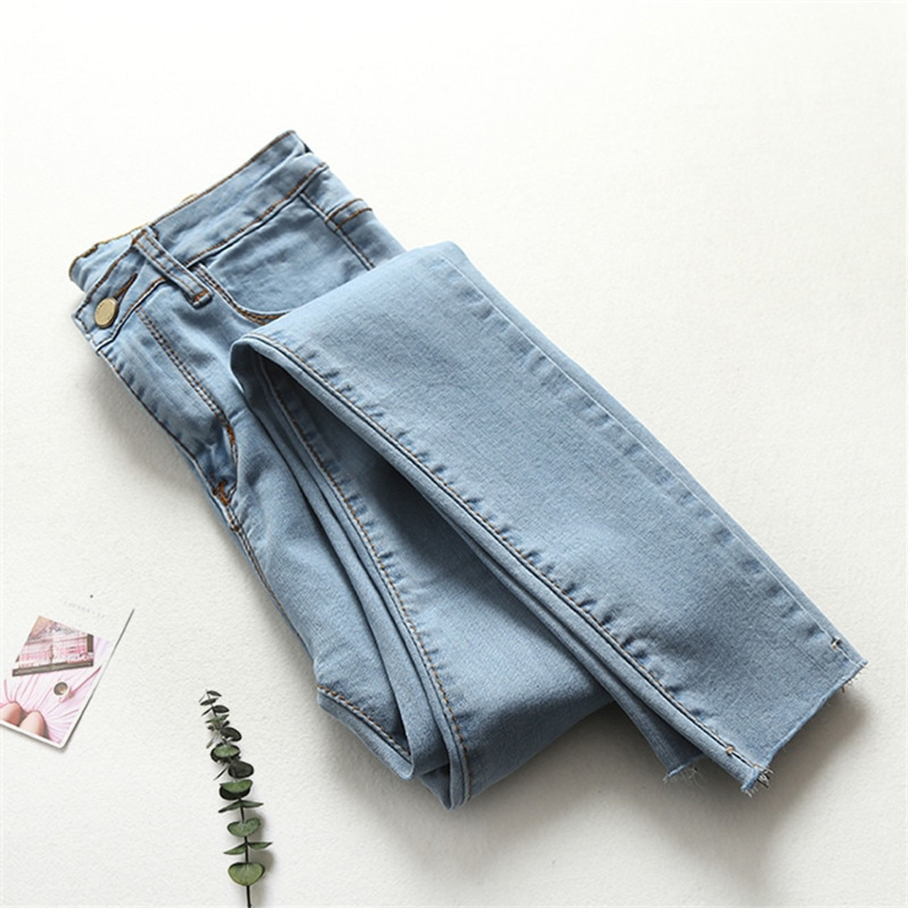 a6b7bafd4f2c Light Blue High Waist Jeans Woman Spring Summer Skinny Jeans Woman Vaqueros  Mujer Ripped Pencil Jeans ...
