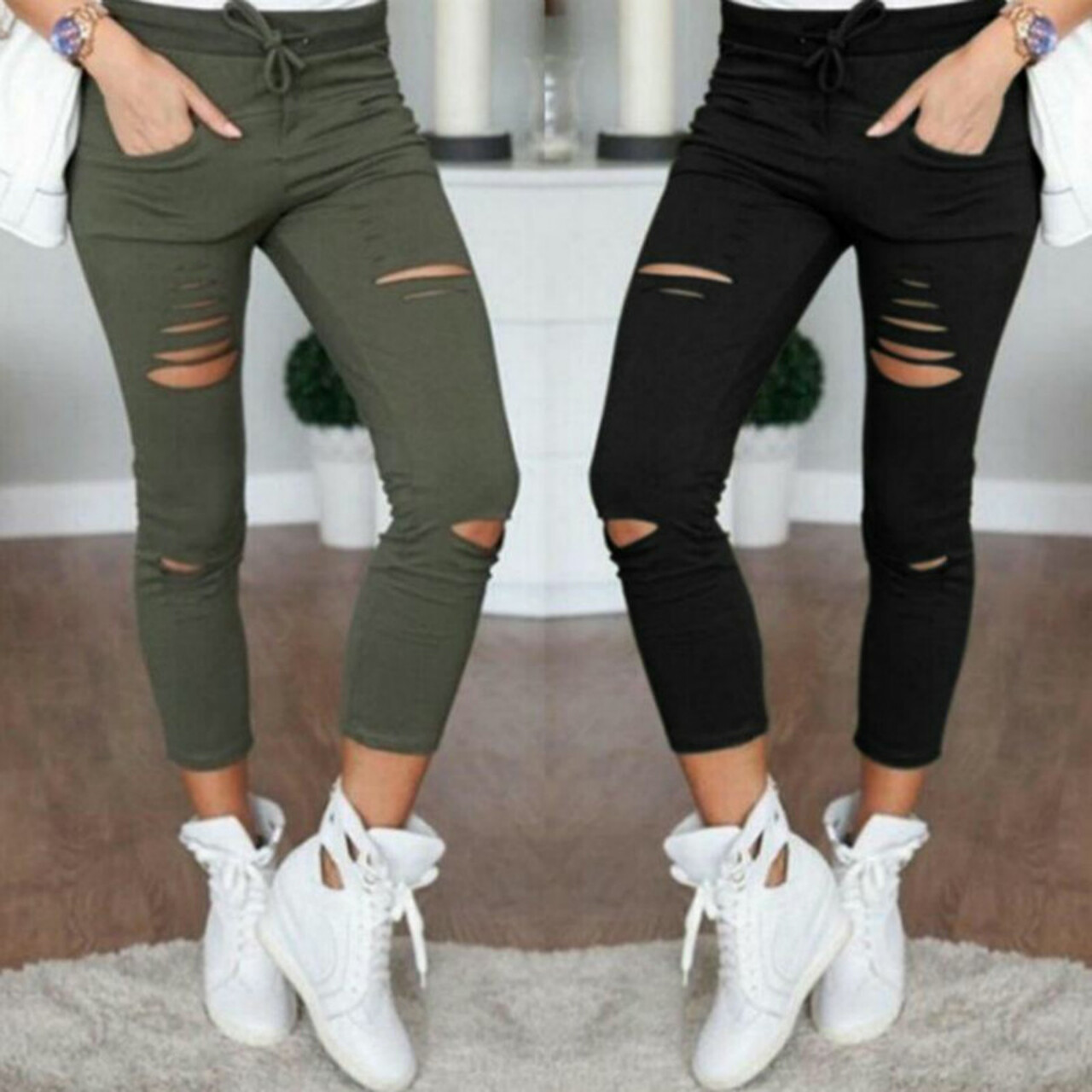 ac2863bbbd 2018 Summer Skinny Jeans Women Denim Pants Holes Destroyed Knee Pencil  Pants Casual Trousers Black White ...
