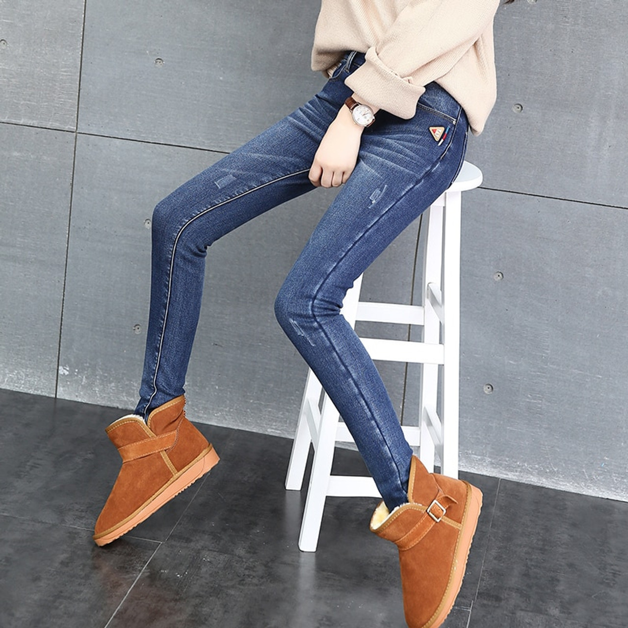 7a4e09ac280 CTRLCITY Winter Jeans Female High Waist Denim Pants Warm Trousers Femme  Slim Thick Stretch Fleece Pencil Pants Skinny Jeans - OnshopDeals.Com