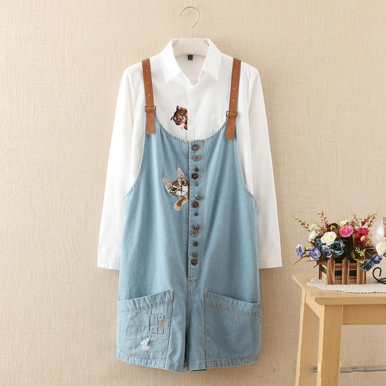 382106835b54 autumn winter new funny female cats embroidery pattern denim jeans overalls  women suspenders wide leg Bib ...