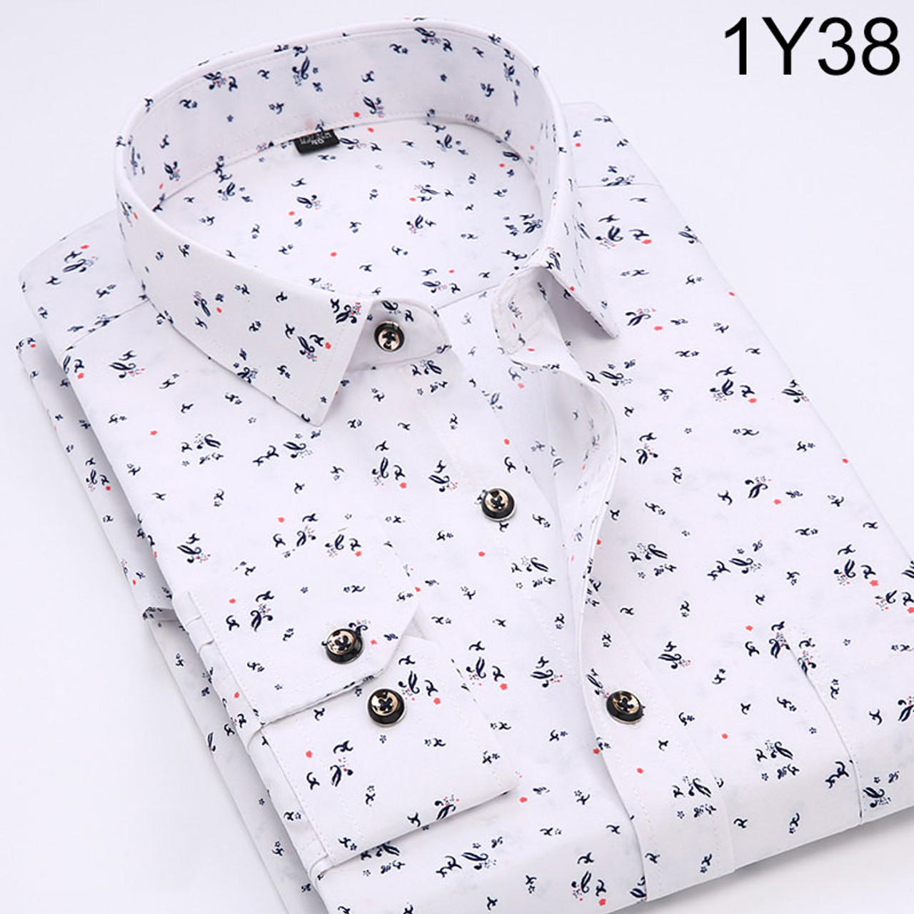 1e293ca164ab ... New 2018 Spring Men Casual Shirts Fashion Long Sleeve Brand Printed  Button-Up Formal Business ...