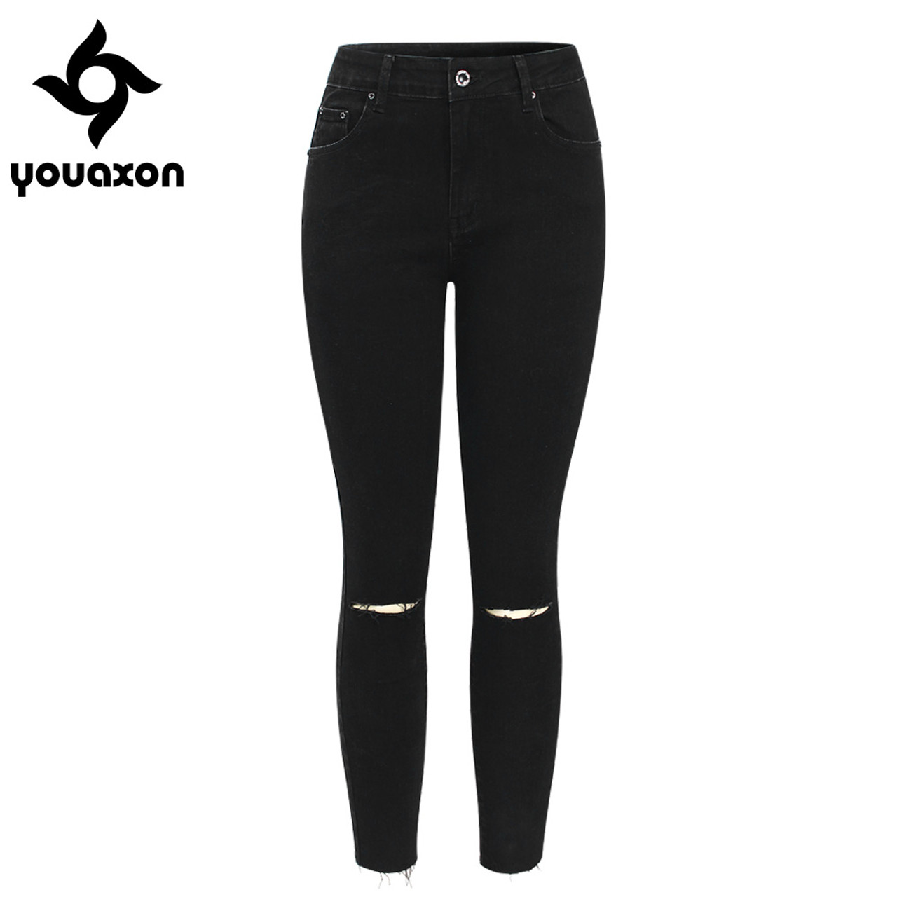 5be9a117033 2104 Youaxon Black Ripped Knees Cropped Jeans Women Mid Waist Stretchy Denim  Pants Trousers For Woman ...