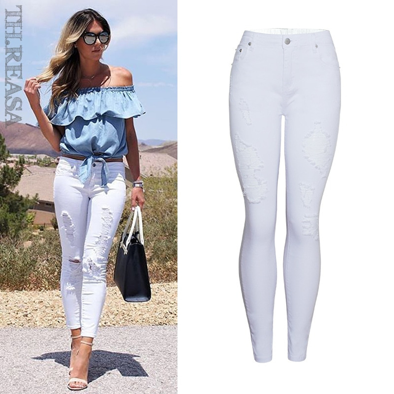7f044d54fab Summer Style White Hole Ripped Jeans Women Jeggings Cool Denim High Waist  Pants Capris Female Skinny Casual Jeans