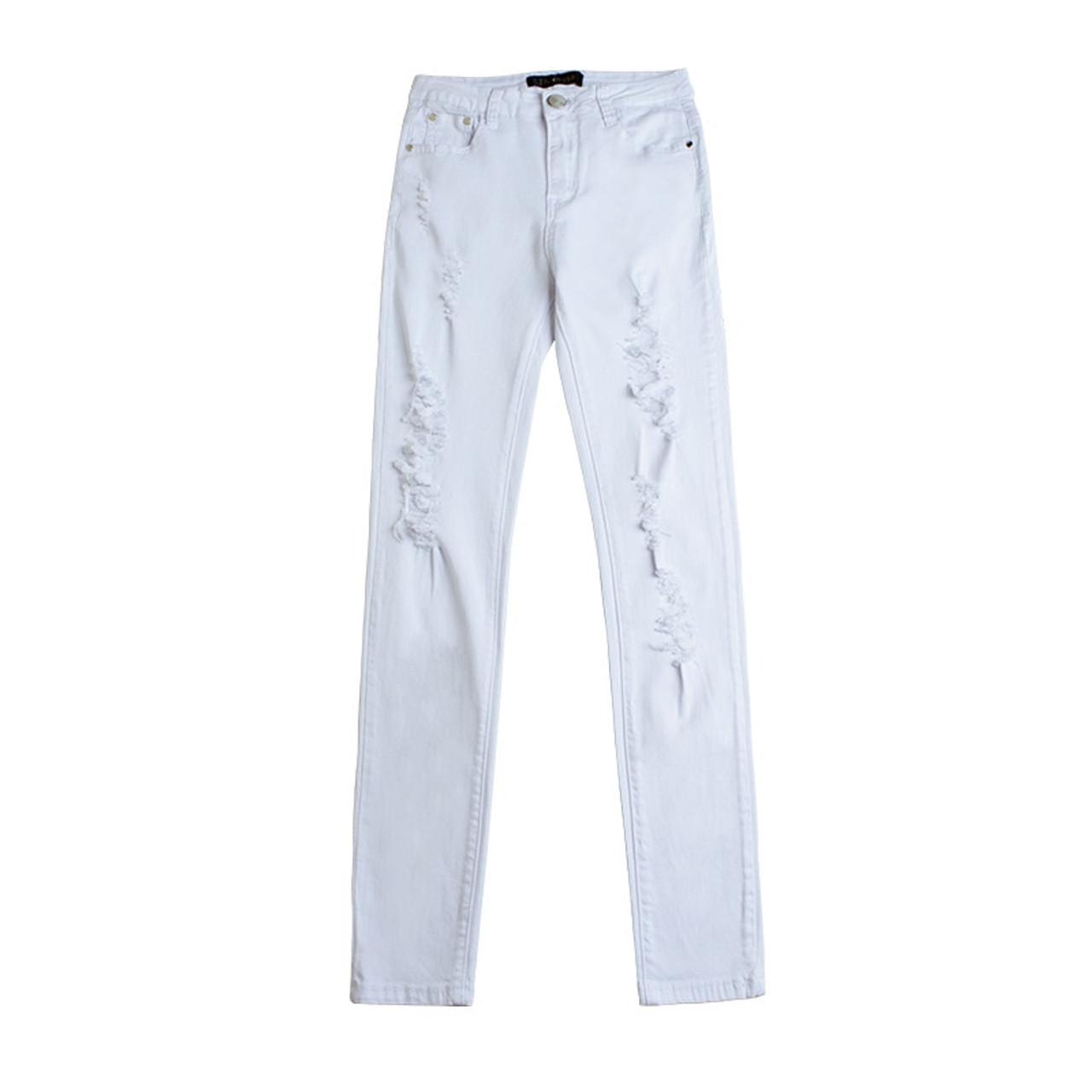 67090b41f7c86b ... Summer Style White Hole Ripped Jeans Women Jeggings Cool Denim High  Waist Pants Capris Female Skinny ...