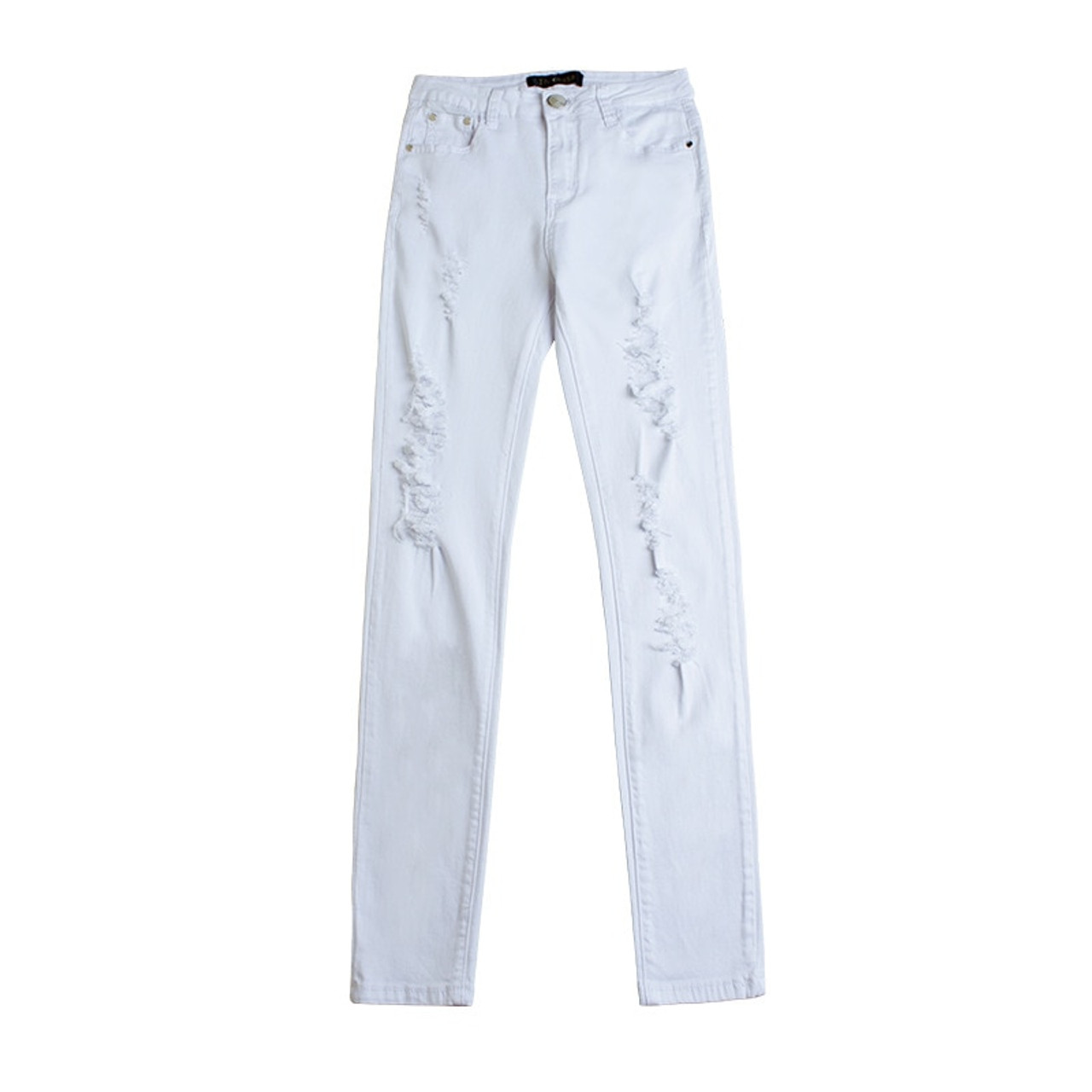c82fb3cec ... Summer Style White Hole Ripped Jeans Women Jeggings Cool Denim High  Waist Pants Capris Female Skinny