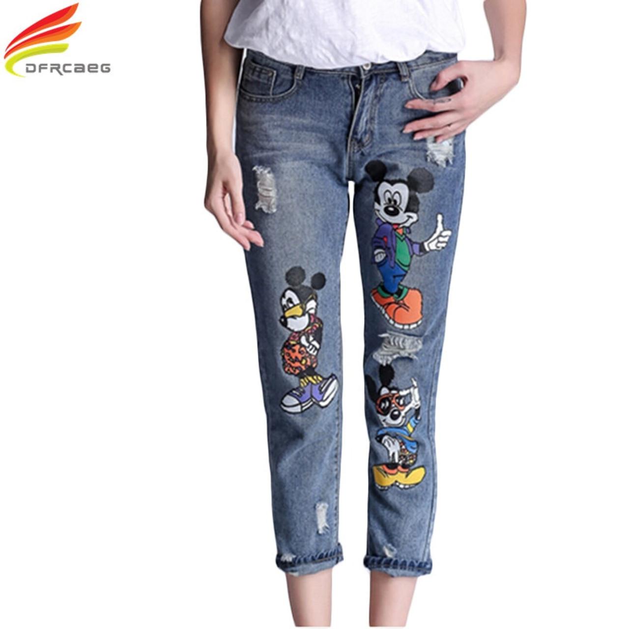 5xl 2018 Fashion High Waist Pencil Boyfriend Jeans Femme Print Cartoon Jeans Woman Denim Pants Plus Size Ripped Jeans For Women Onshopdeals Com