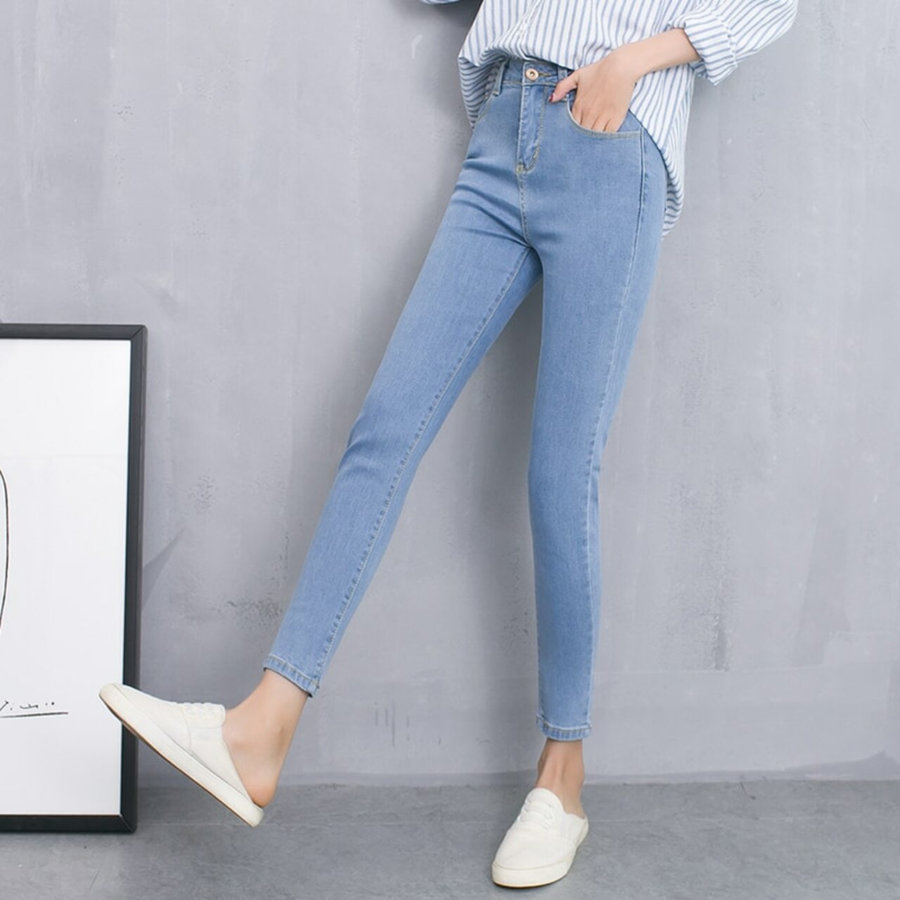 ba9bc50e756d ... Skinny Jeans Woman Autumn New 2018 High waist Women Fashion Slim Jeans  Female washed casual skinny ...