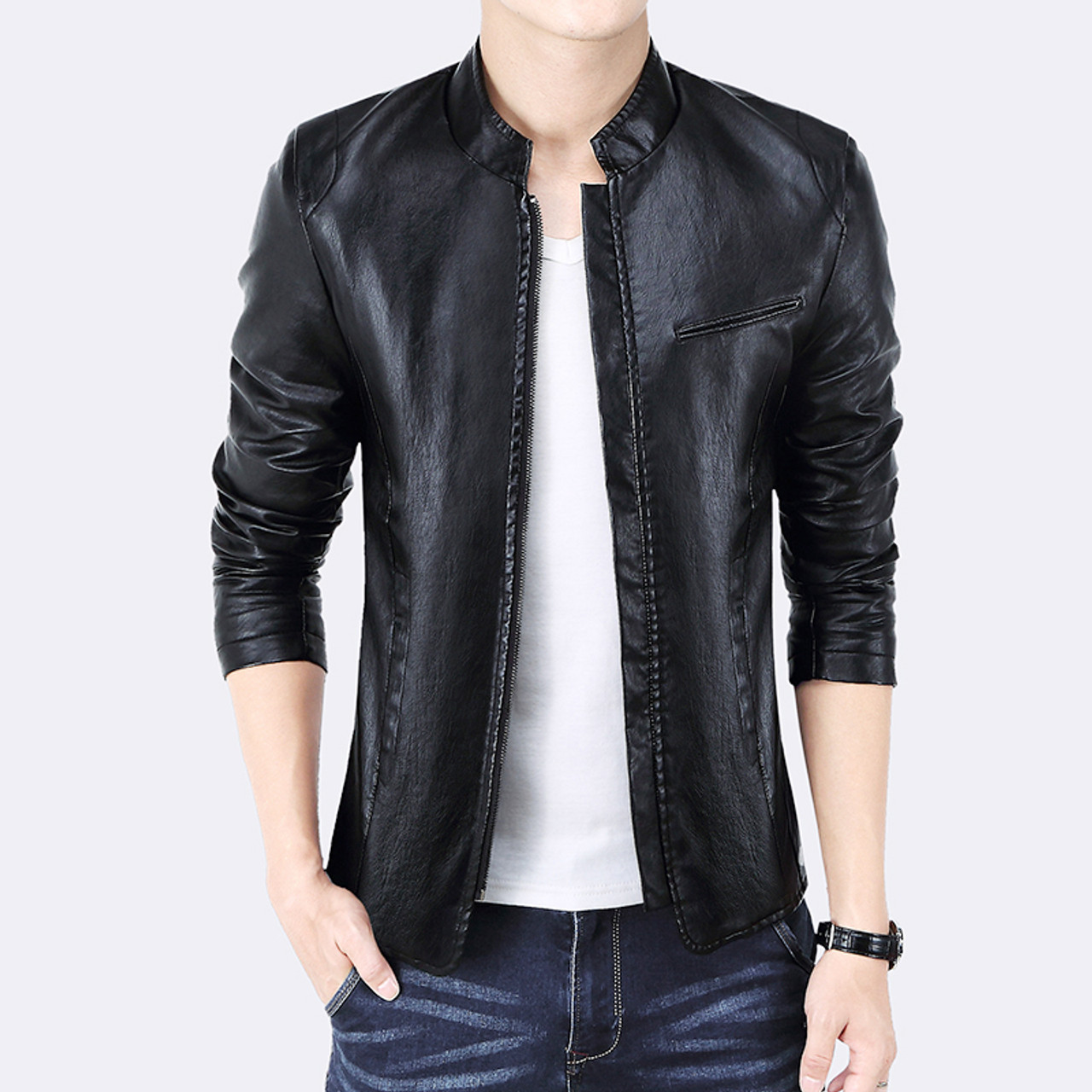 dd156c053db ... New Brand Men's Jackets PU Leather Jacket Punk Red Leather Jackets  Zipper Men Chupas De Cuero ...