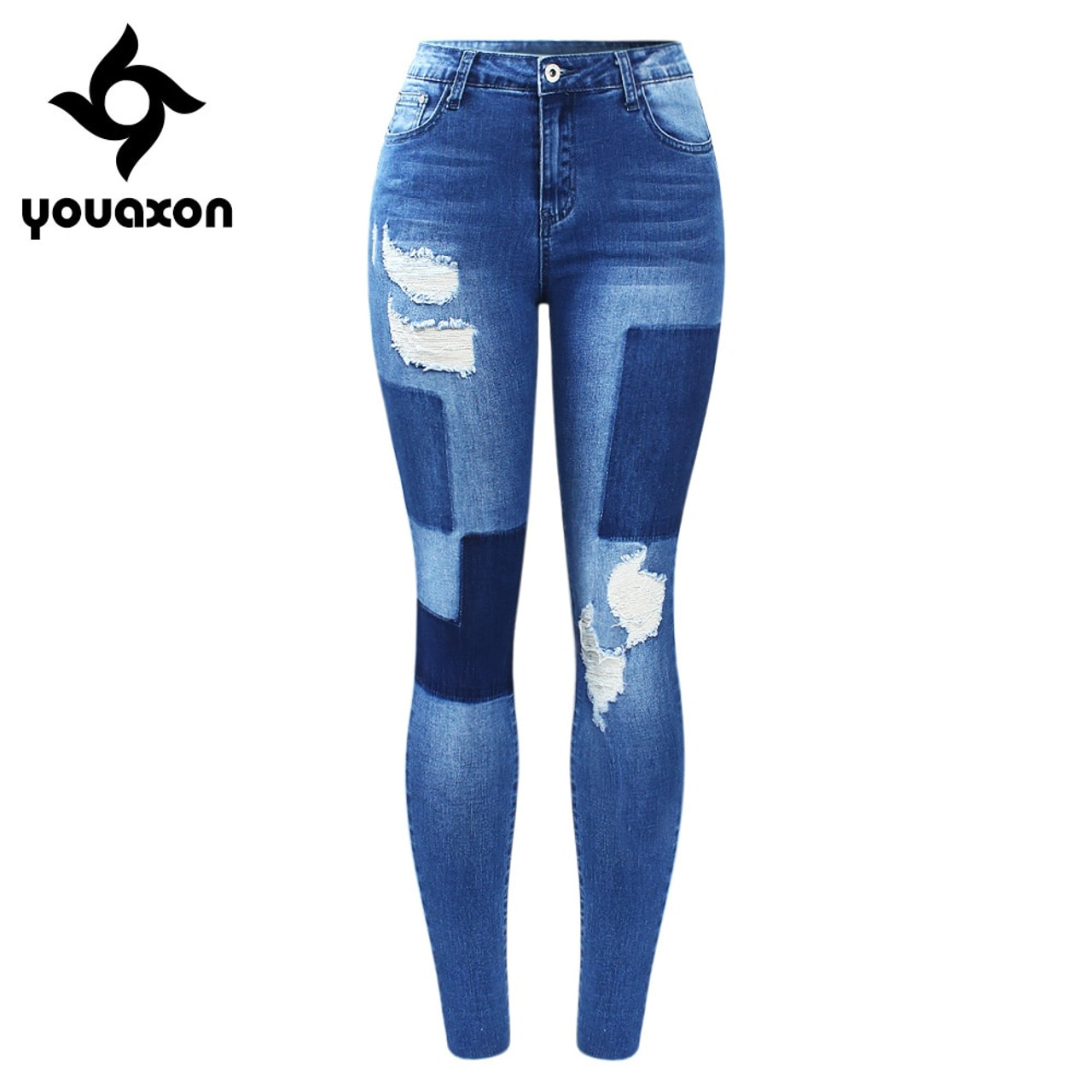 036236d0ee7 2172 Youaxon New Stretchy Fake Patches Jeans Woman Blue Ripped Denim Pants  Trousers For Women Pencil ...