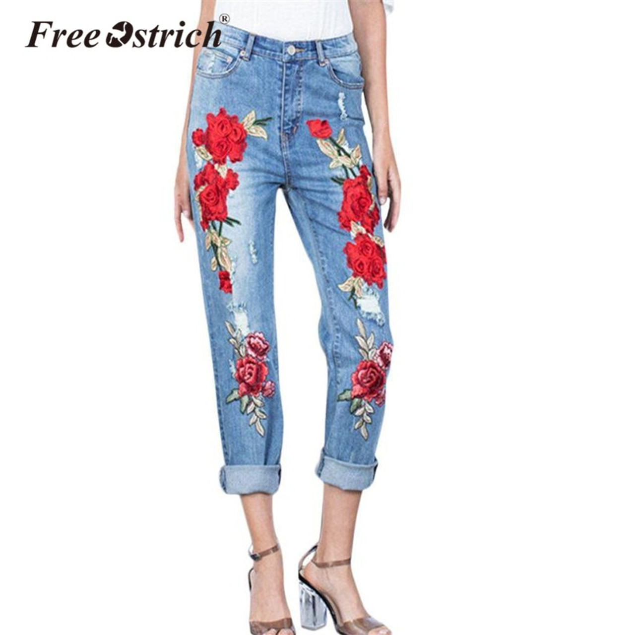 685ceb0ae31f3 Free Ostrich 2018 Plus Size Stretchy Ripped Jeans With Scuffs 3D Embroidery  Flowers Woman Denim Pants Trousers Jeans Sep27 - OnshopDeals.Com