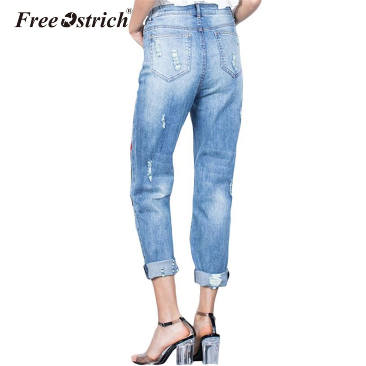 dc912067a8da0 ... Free Ostrich 2018 Plus Size Stretchy Ripped Jeans With Scuffs 3D  Embroidery Flowers Woman Denim Pants ...