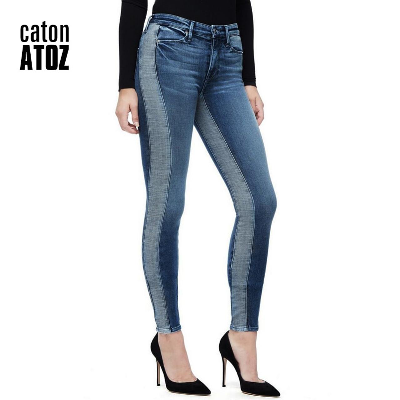 ladies patchwork skinny jeans