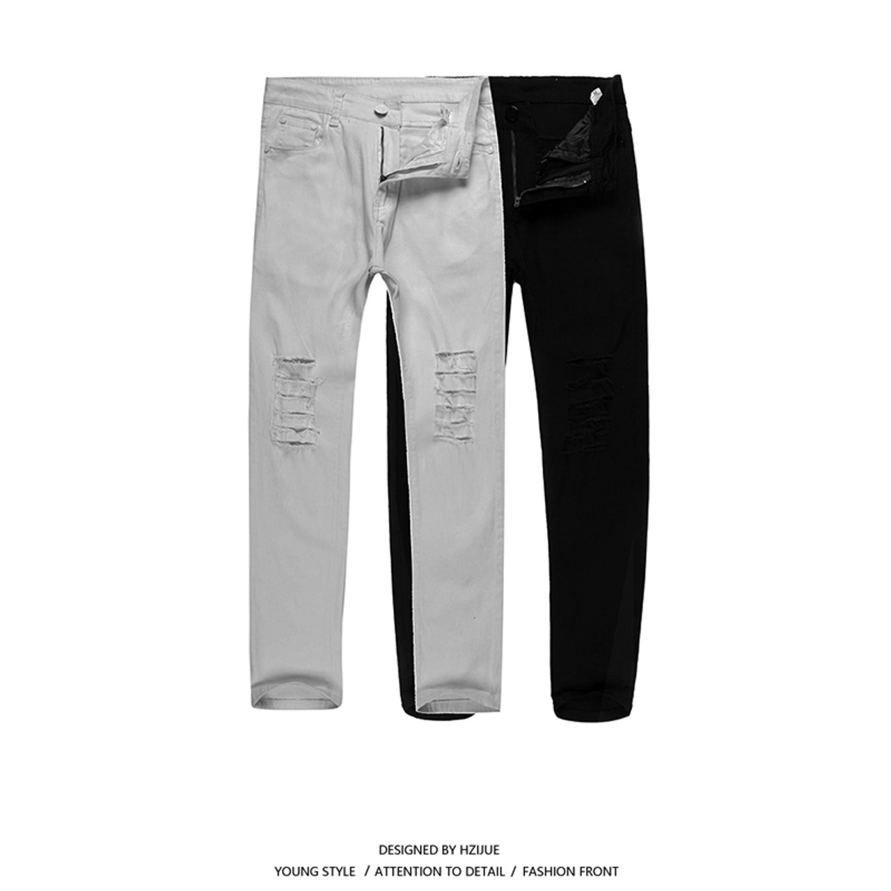 746e1139ef4 ... HZIJUE 2018 New Black Ripped Jeans Men With Holes Super Skinny Famous  Designer Brand Slim Fit ...