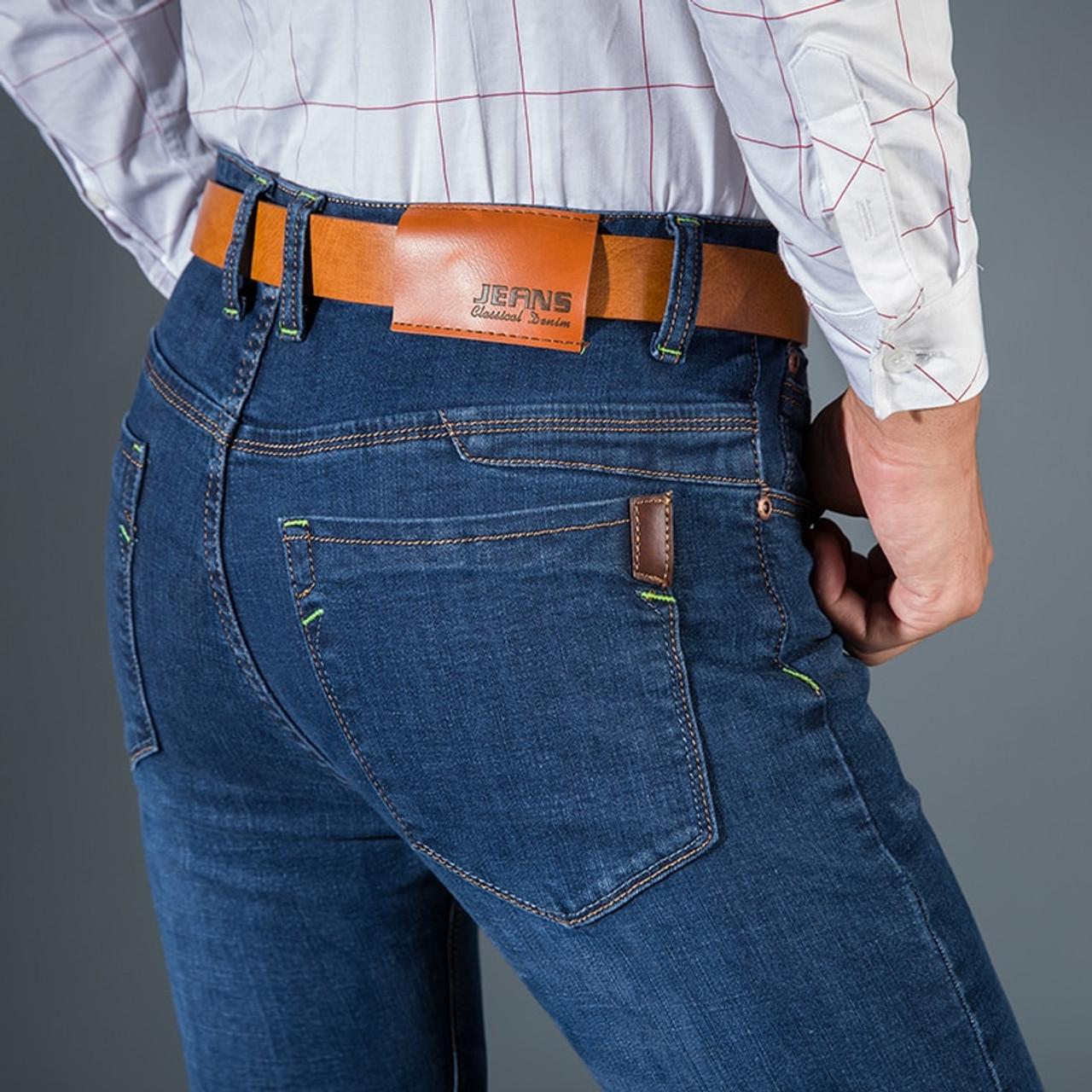 47ca5b4822238 ... Men'S Classic Jeans Brand Large Size Straight Homme Jean Slim  Distressed Design Biker Pants Fit Cheap ...