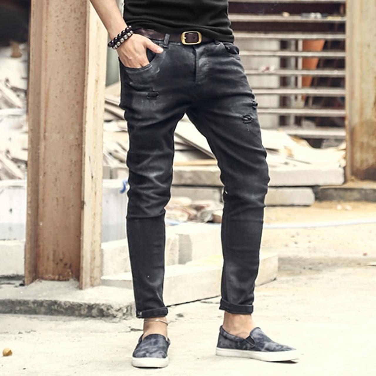 Fashion Vintage Mens Ripped Jeans Pants Slim Fit Distressed Hip Hop Denim Pants New Spring Men Black Stretch Jeans Pants Onshopdeals Com