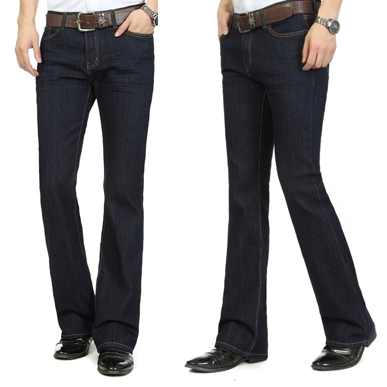 Free Shipping Men S Business Casual Jeans Male Mid Waist Elastic Slim Boot Cut Semi Flared Four Seasons Bell Bottom Jeans 26 36