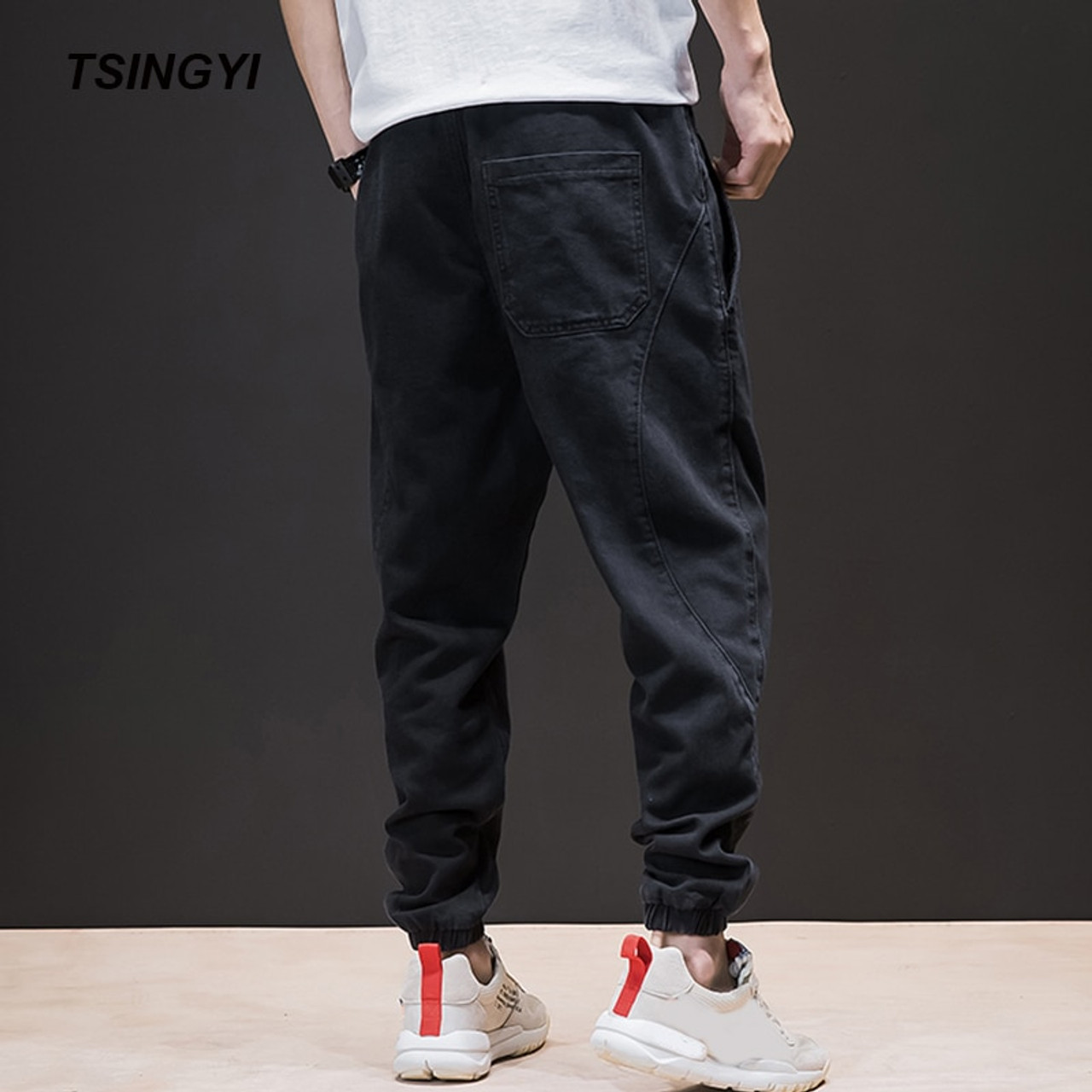 be1c12de3fa ... Tsingyi Spring Summer Japan Style Do old Wash Denim Jeans Blue Black  Mens joggers Hip Hop ...