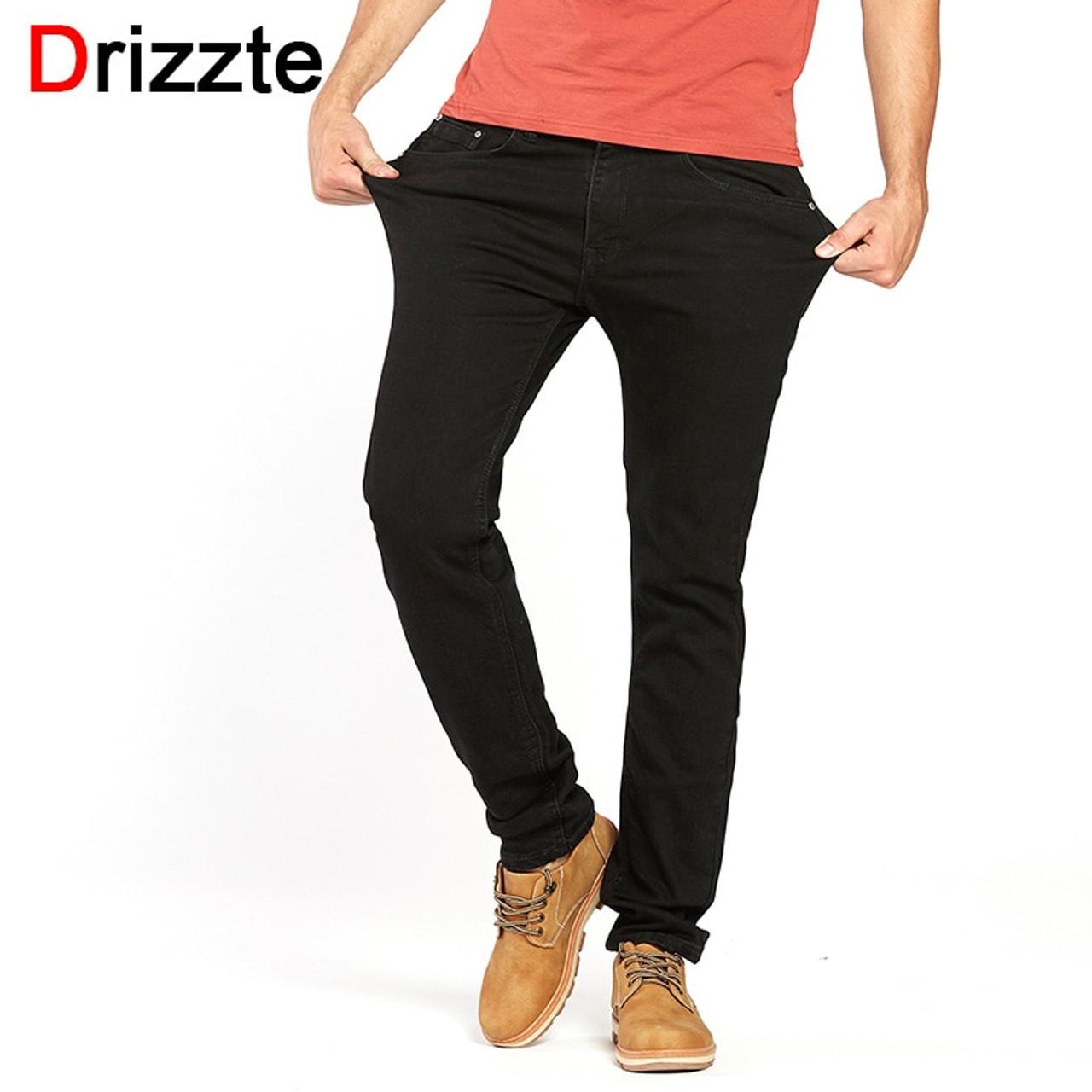 654728b240e Drizzte Men s Jeans Black High Stretch Denim Brand Men Jeans Size 30 32 34  35 36 ...
