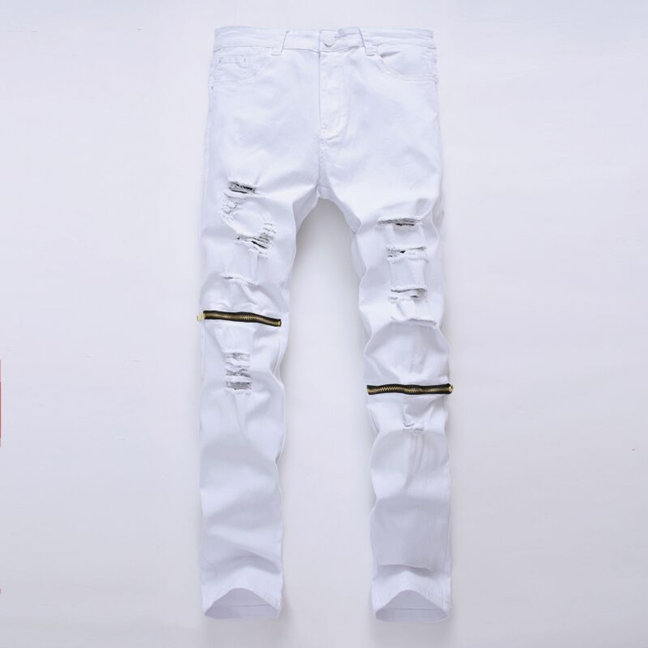 Embassy battery Put away clothes  White Ripped Jeans Men With Holes Super Skinny Famous Designer Brand Slim  Fit Destroyed Jeans Pencil pants Slim zipper Jeans - OnshopDeals.Com