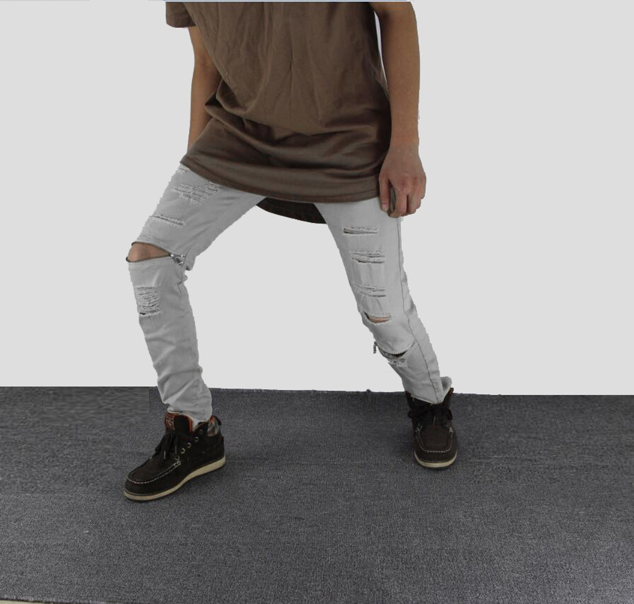 f629e1358be212 ... White Ripped Jeans Men With Holes Super Skinny Famous Designer Brand  Slim Fit Destroyed Jeans Pencil ...