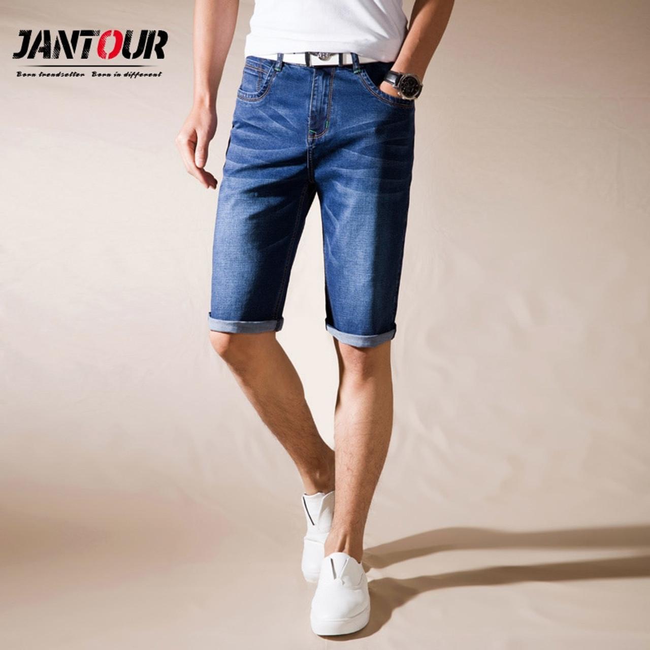 e575713cb626c jantour Brand Mens Summer Stretch Thin high quality Denim Jeans male Short  Men blue black Jeans Shorts Pants Plus Size 38 40 42 - OnshopDeals.Com