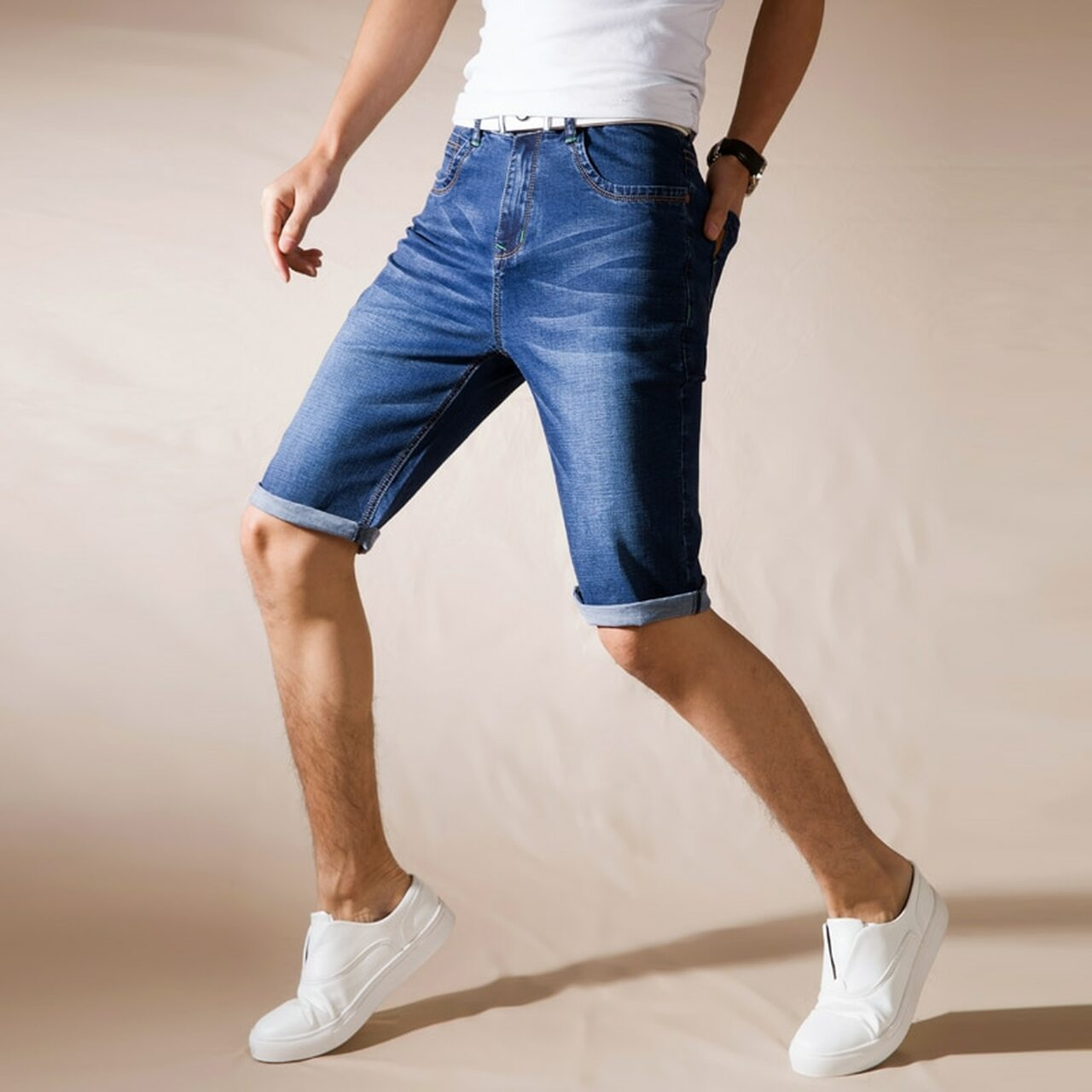 d00f0e3ea1af ... jantour Brand Mens Summer Stretch Thin high quality Denim Jeans male  Short Men blue black Jeans ...