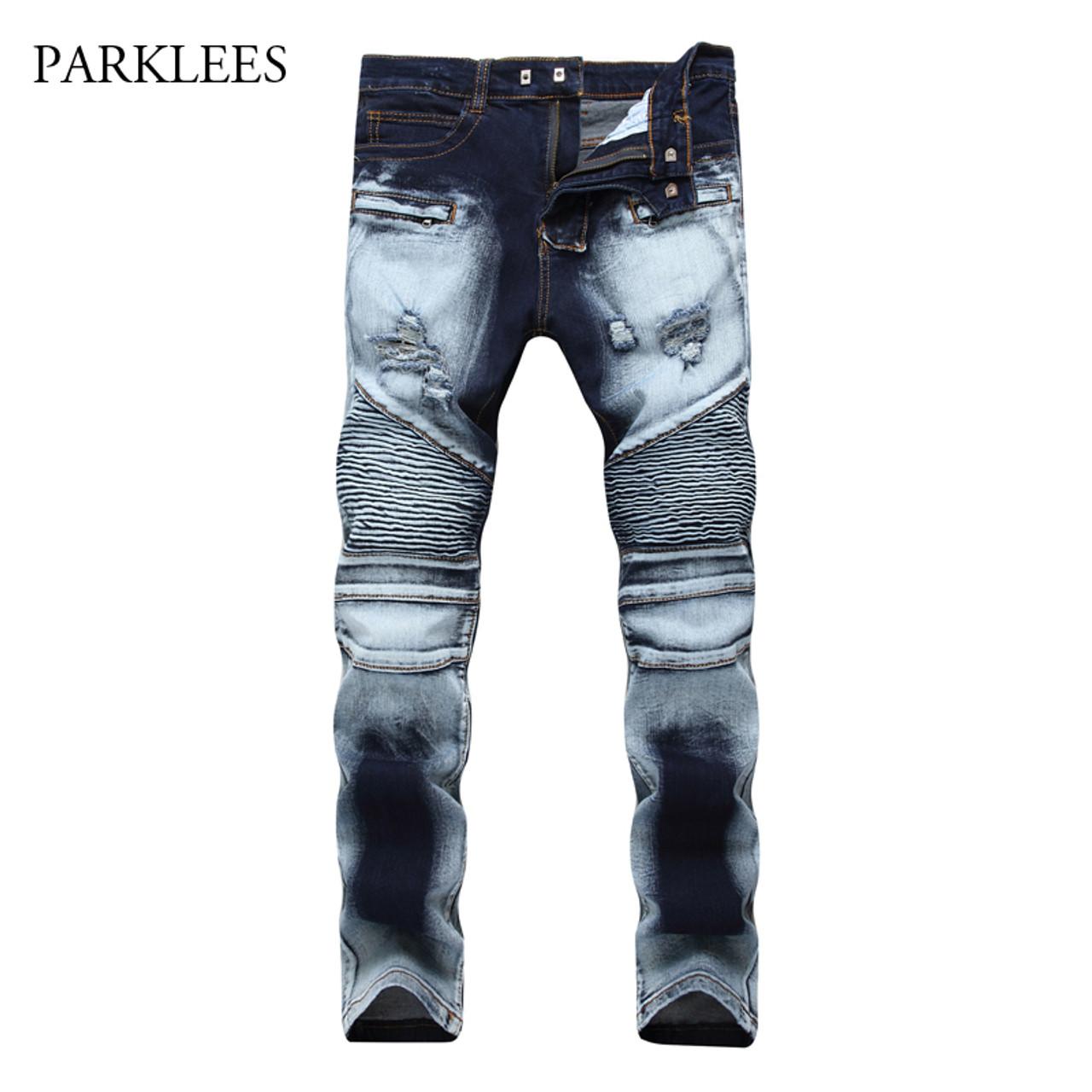21611efcba Brand Biker Jeans Men 2017 Autumn Casual Washed Cotton Fold Skinny Ripped  Jeans Hip Hop Elasticity Slim Denim Jeans Pants Homme - OnshopDeals.Com