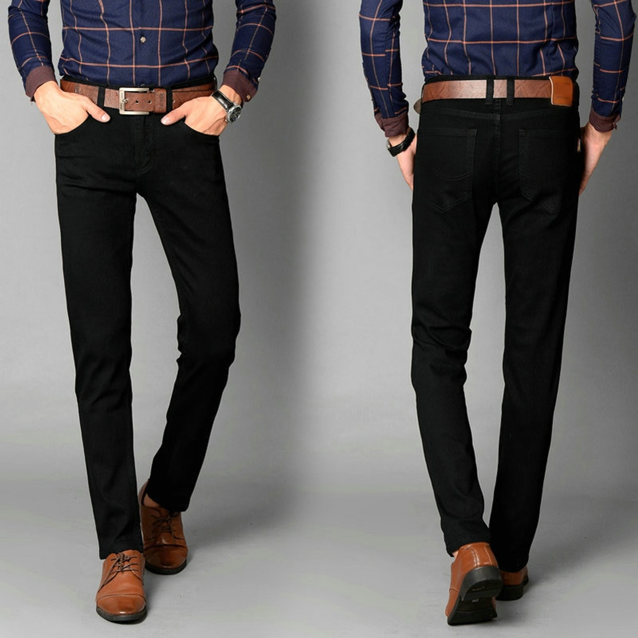 Men/'s Solid Trousers Formal Straight-Leg Jean Stretch Business Long Pants Dress