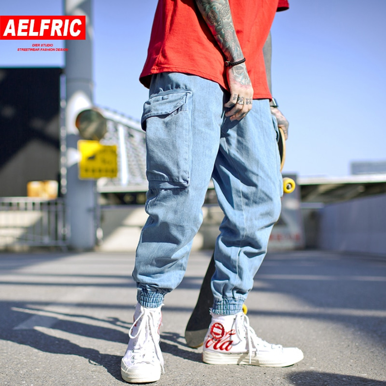 bc5b136b5b9 AELFRIC Harem Pants Men Side Pockets Cargo Sweatpants Cotton Denim Jean  Trousers Elastic Waist Hip Hop ...