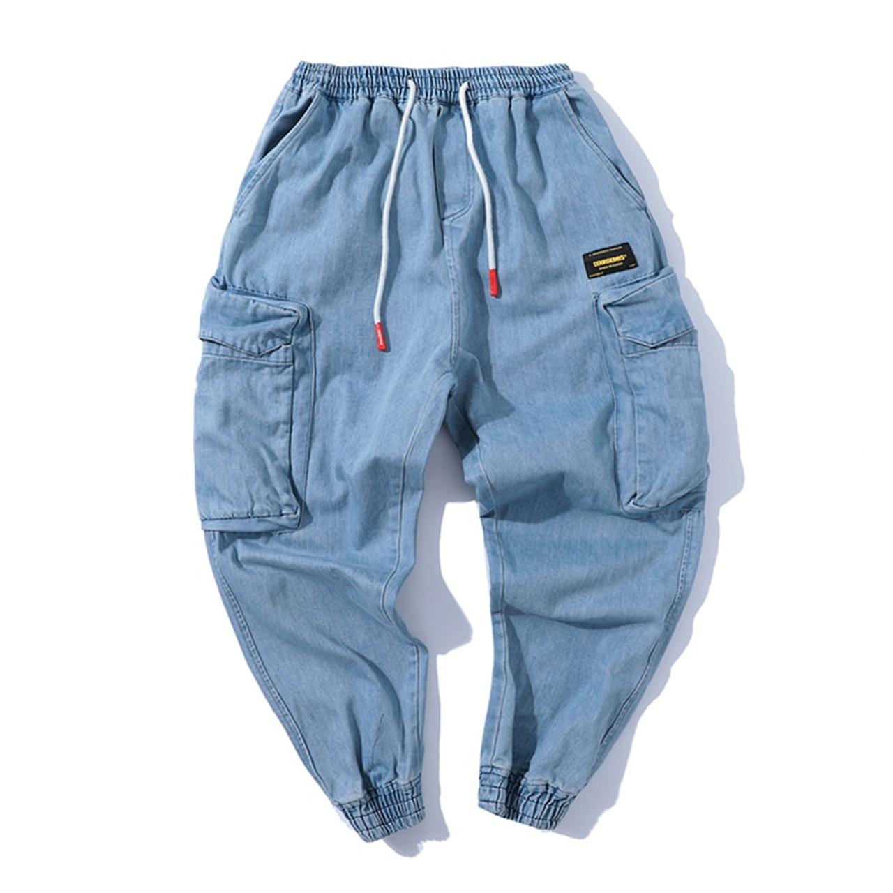 37450c296 ... AELFRIC Harem Pants Men Side Pockets Cargo Sweatpants Cotton Denim Jean  Trousers Elastic Waist Hip Hop ...